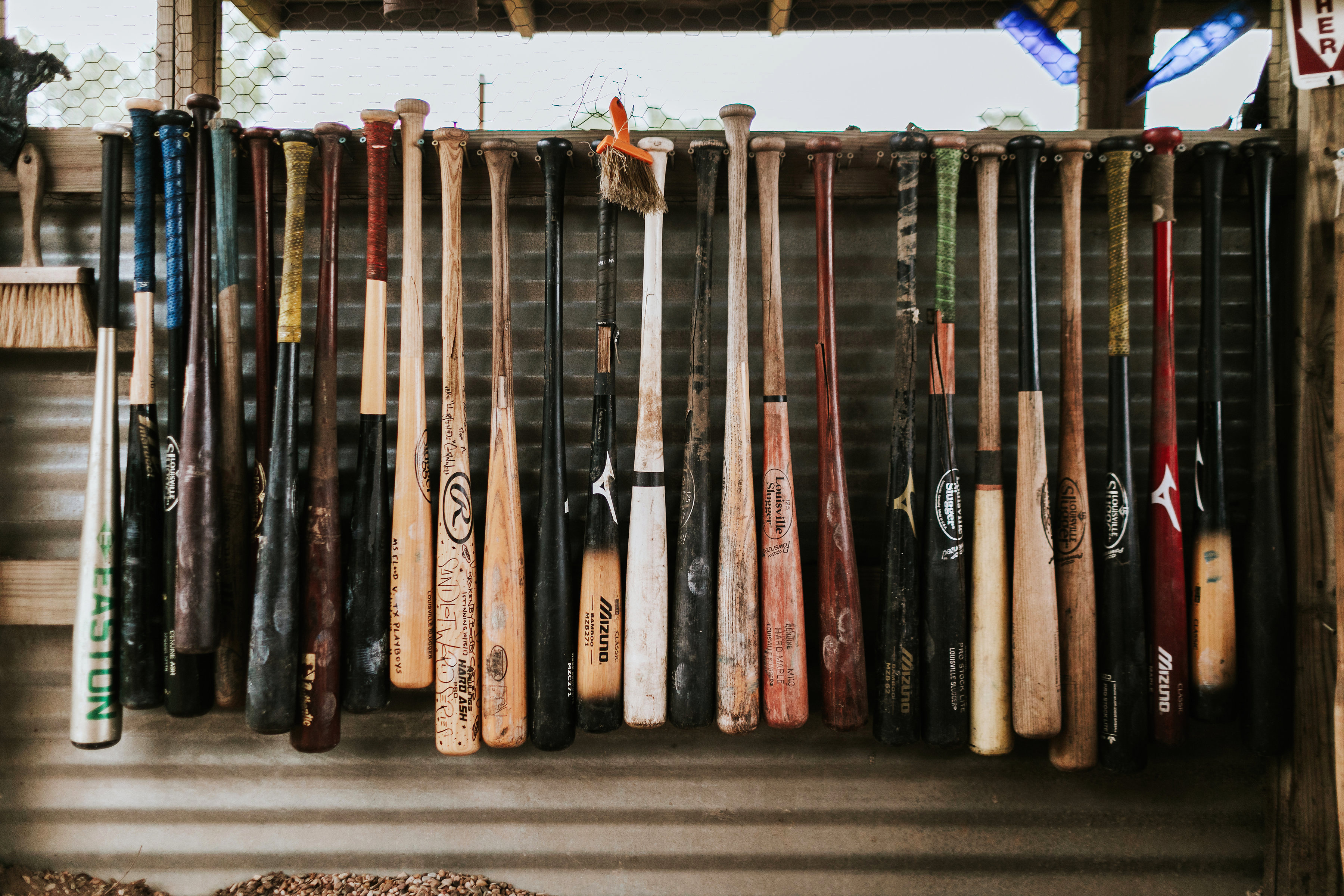 shannon jason wedding baseball bats display