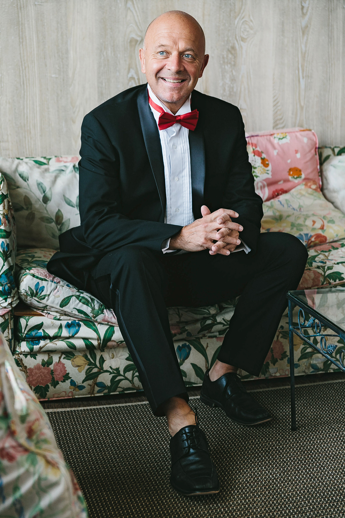 middle-aged groom in dressing room