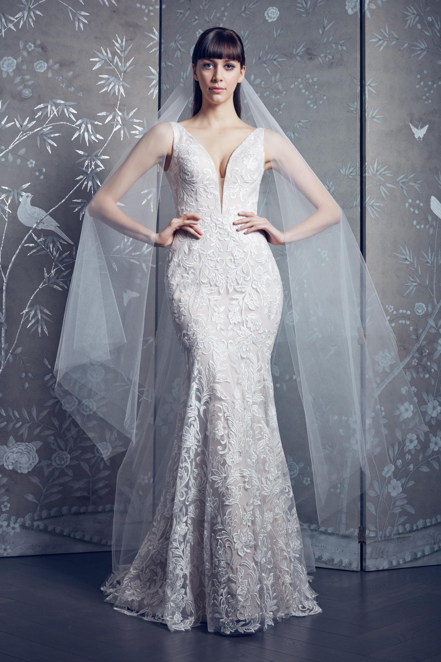 legends romona keveza lace deep v-neck  tumpet wedding dress spring 2020