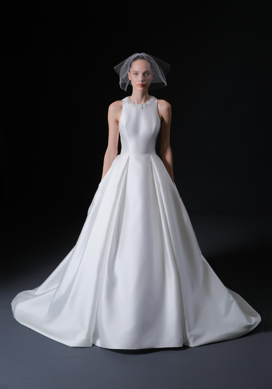 high neck beaded neckline sleeveless a-line wedding dress Isabelle Armstrong Spring 2020