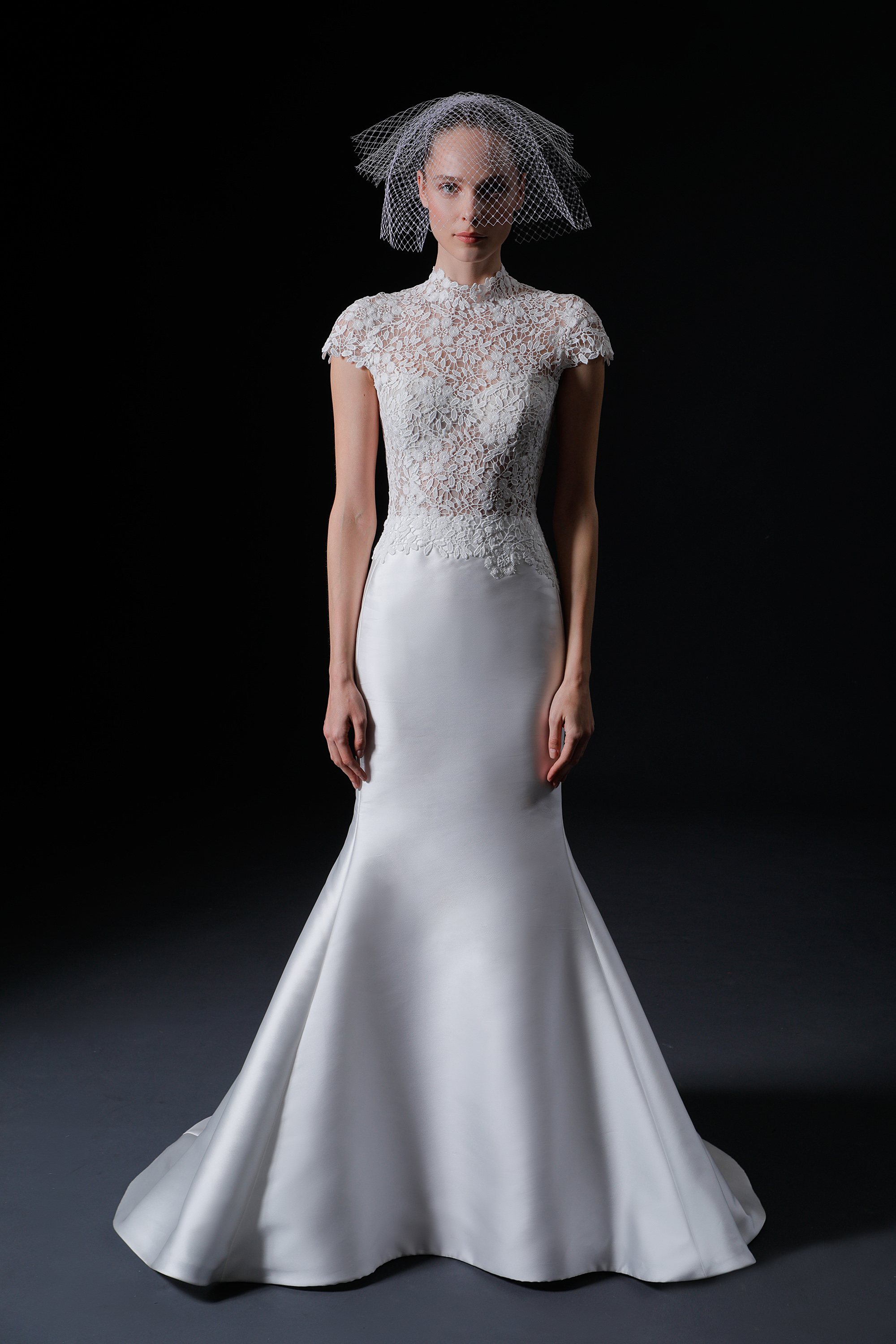 sheer lace high-neck cap sleeves trumpet wedding dress Isabelle Armstrong Spring 2020