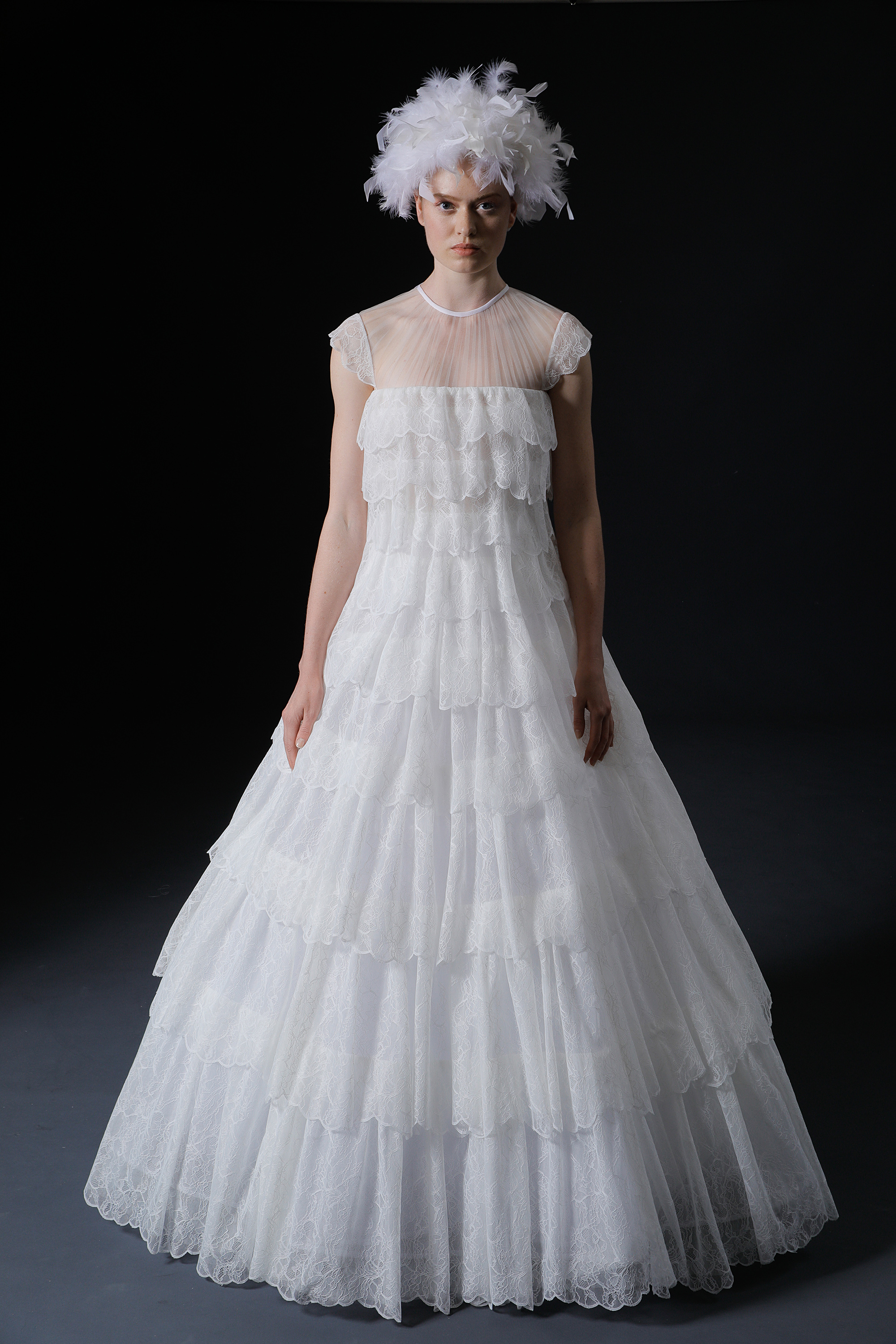 Illusion jewel neck cap sleeve tiered lace a-line wedding dress Isabelle Armstrong Spring 2020