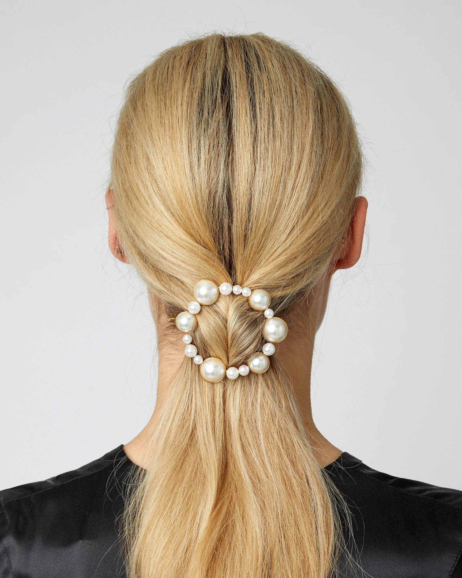 14-Karat Gold Plated Faux-Pearl Barrette