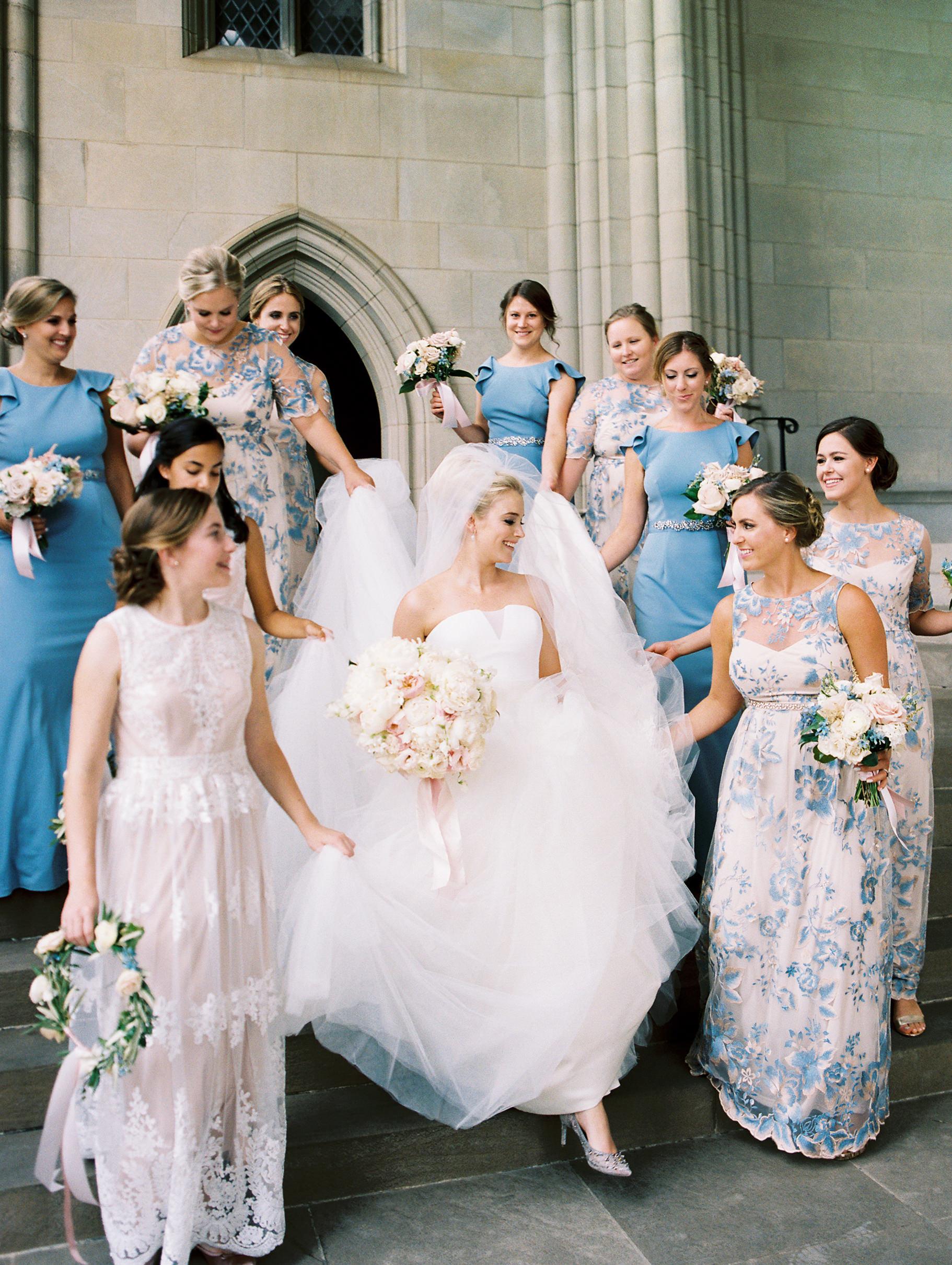 bride with junior bridesmaids and bridesmaids bridal party