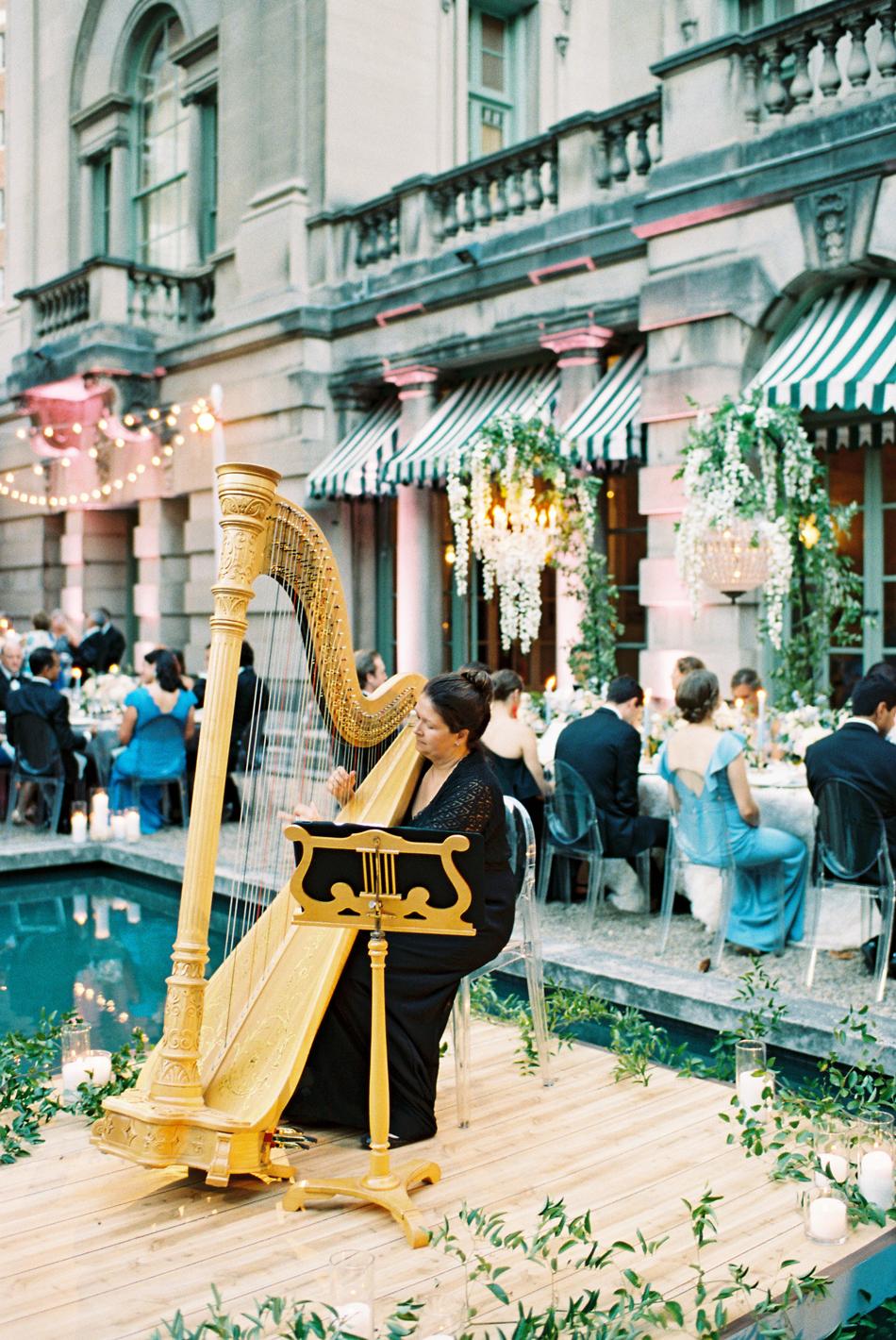 Melissa Dvorak of Capitol Harpist reception dinner musician