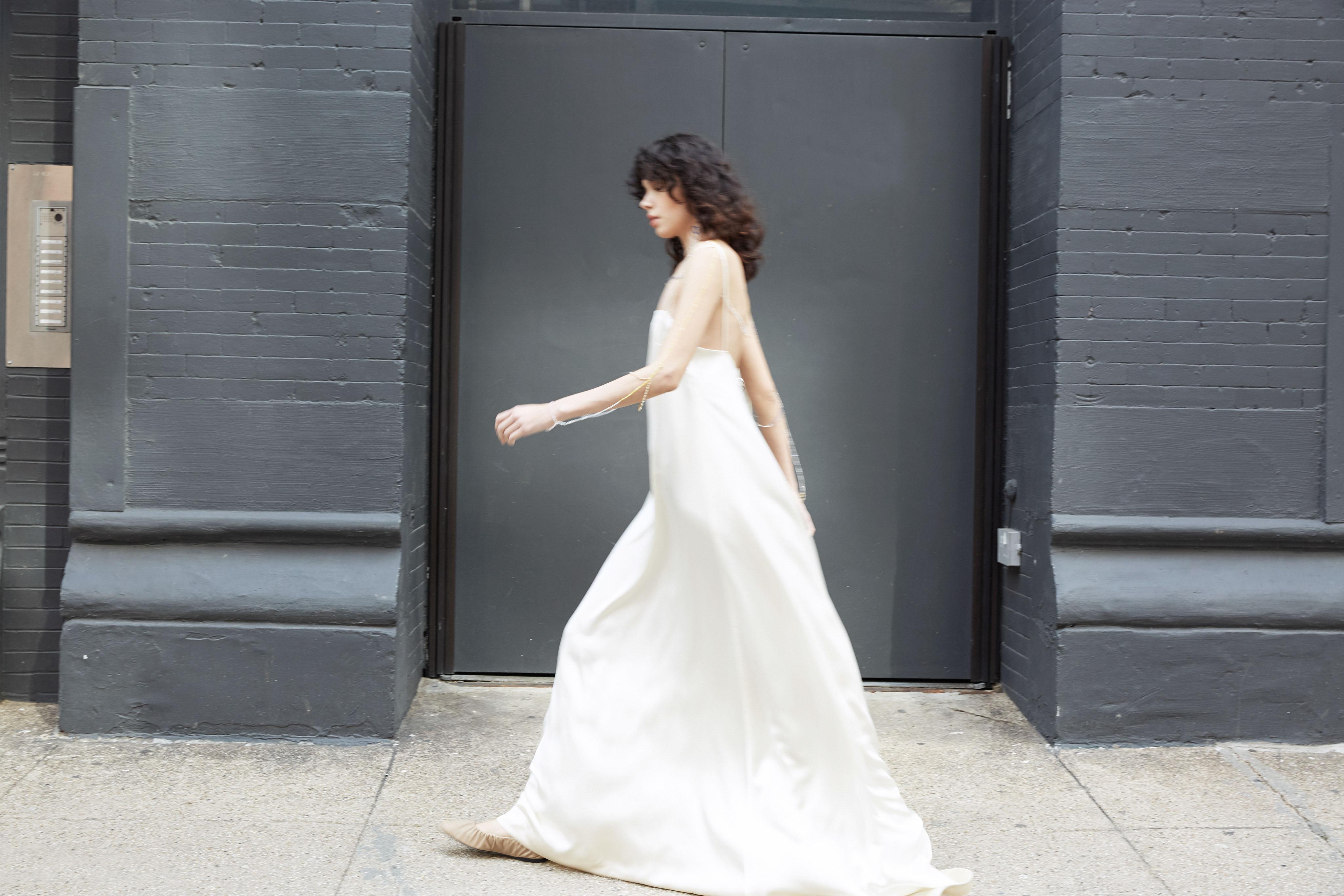 lein wedding dress spring 2020 spaghetti strap sheath
