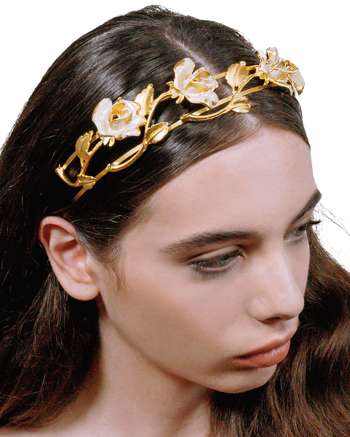 gold plated brass floral headband