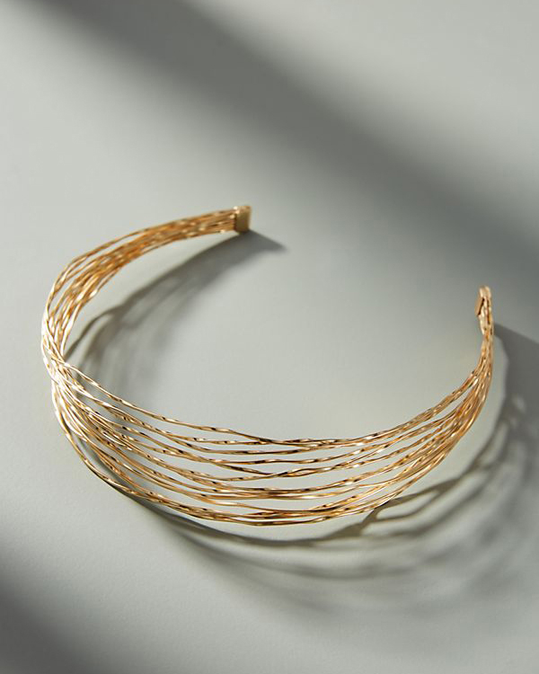 gold strand headband hair accessory
