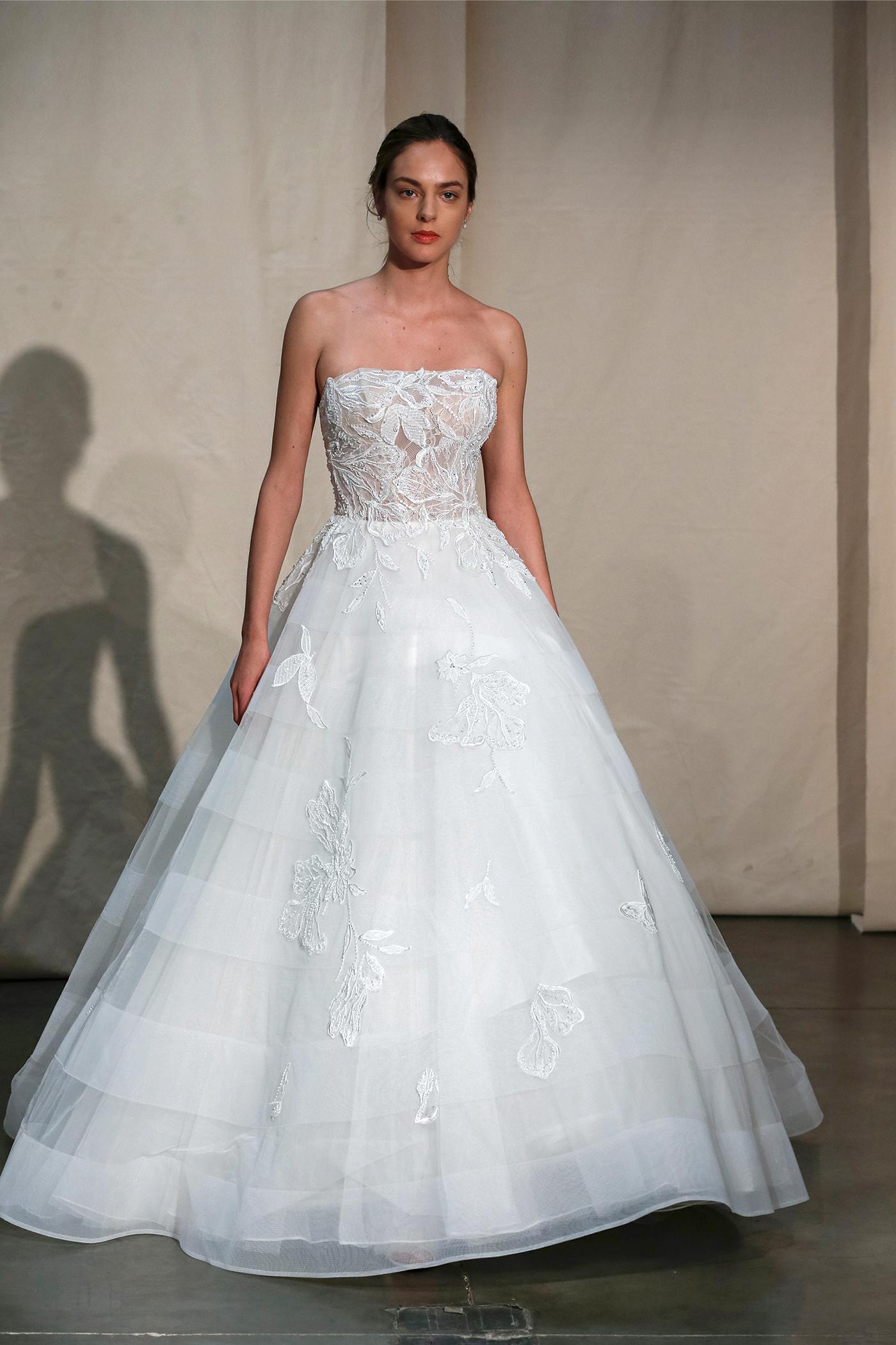 justin alexander embroidered strapless ball gown wedding dress spring 2020