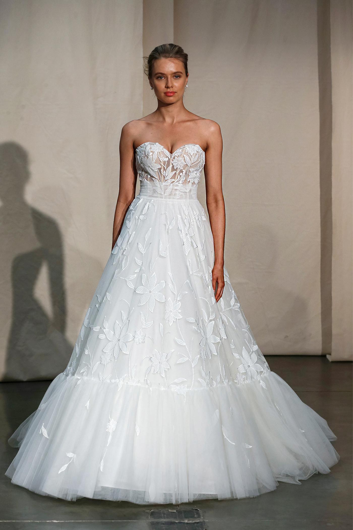 justin alexander floral embroidered exposed boning wedding dress spring 2020