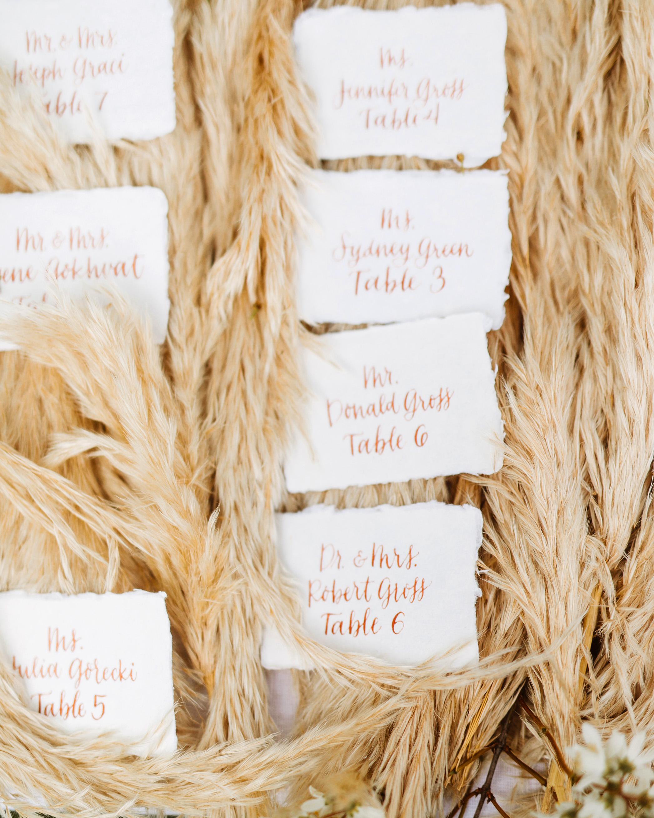 pampas grass ideas escort cards backdrop
