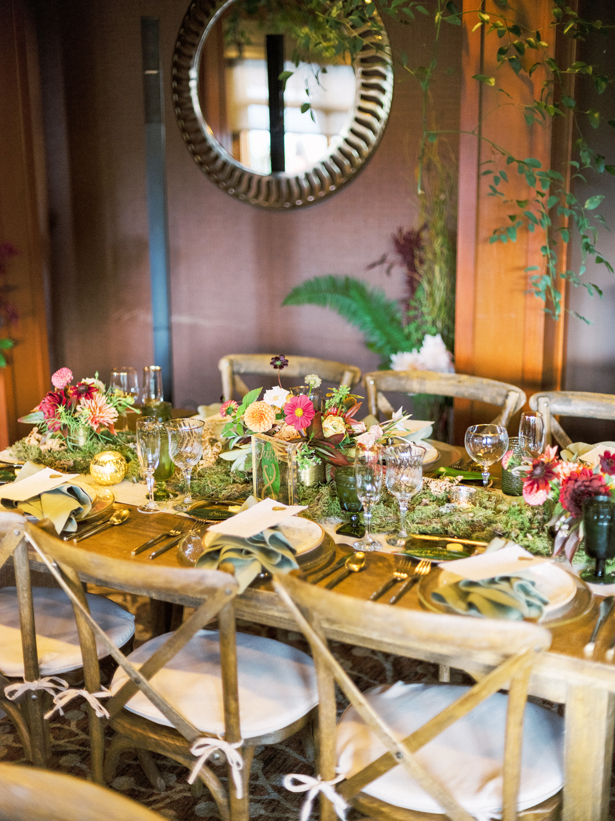 floral and woodland decor reception tables