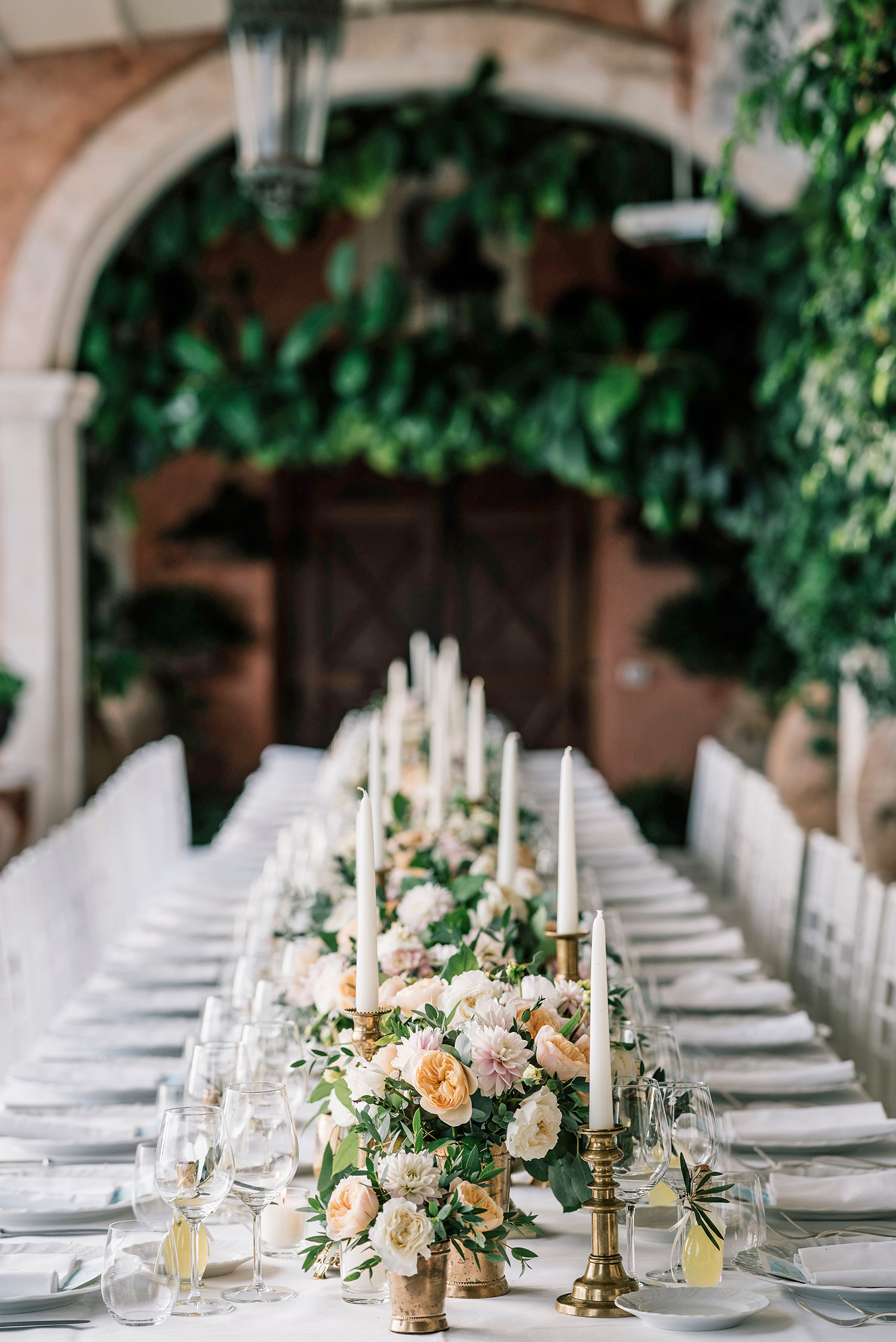cara david wedding reception table setting
