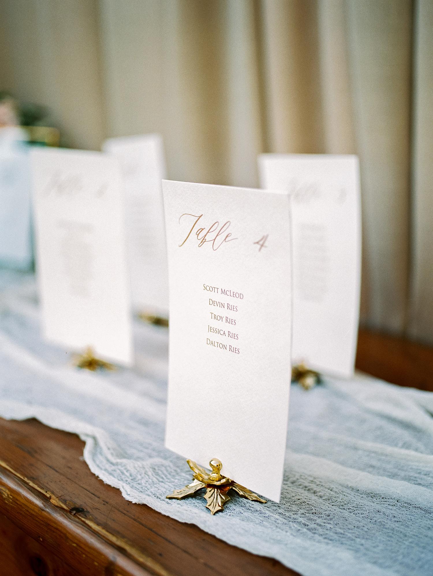 erika evan wedding escort cards