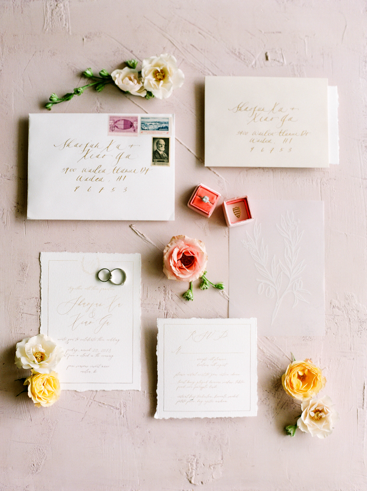 gold calligraphy on ivory paper invitation suit