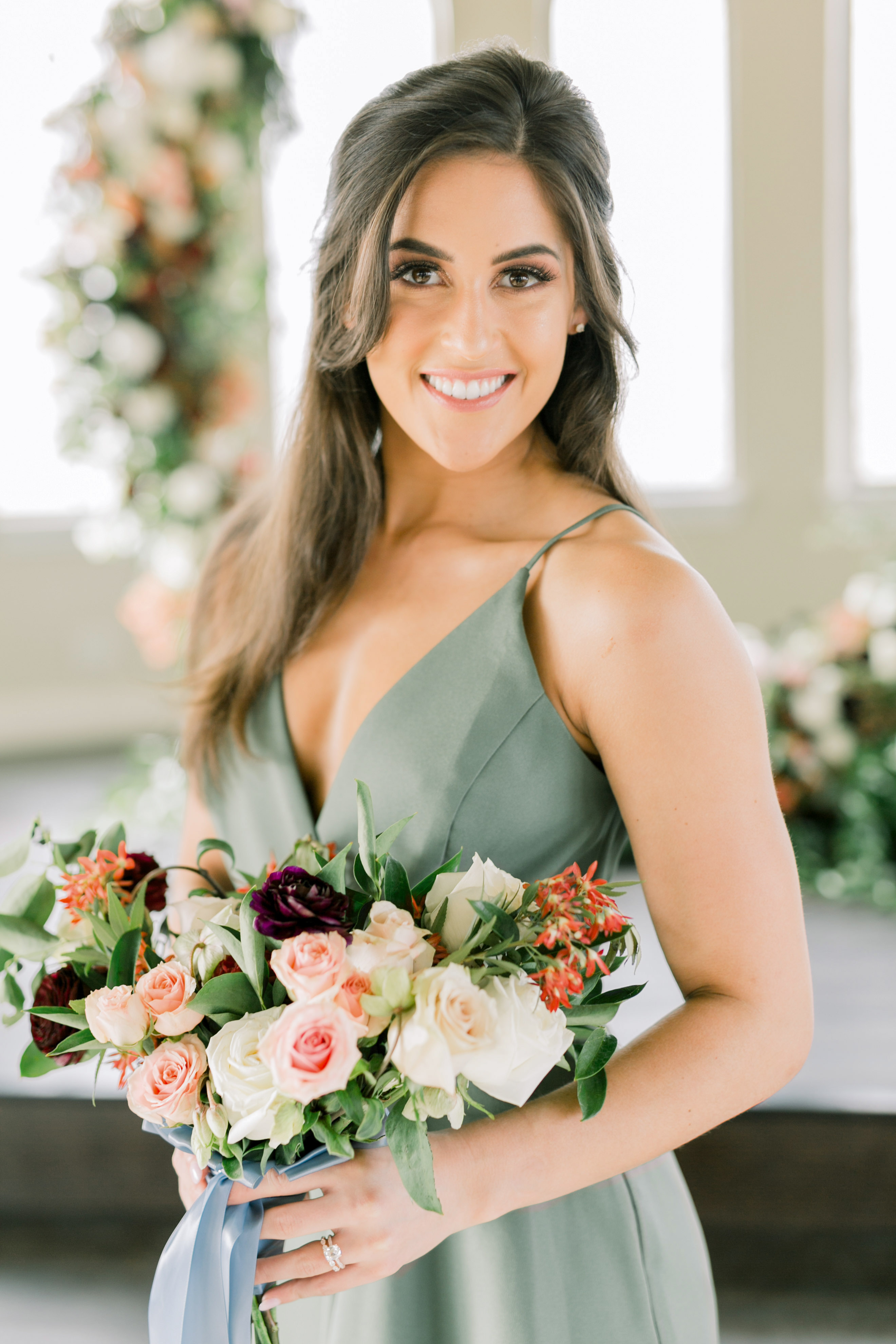 maid of honor hairstyles casual half up