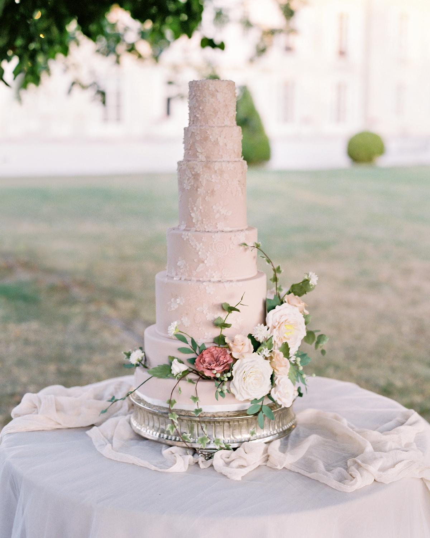 seven tiered Floral Appliqués wedding cake