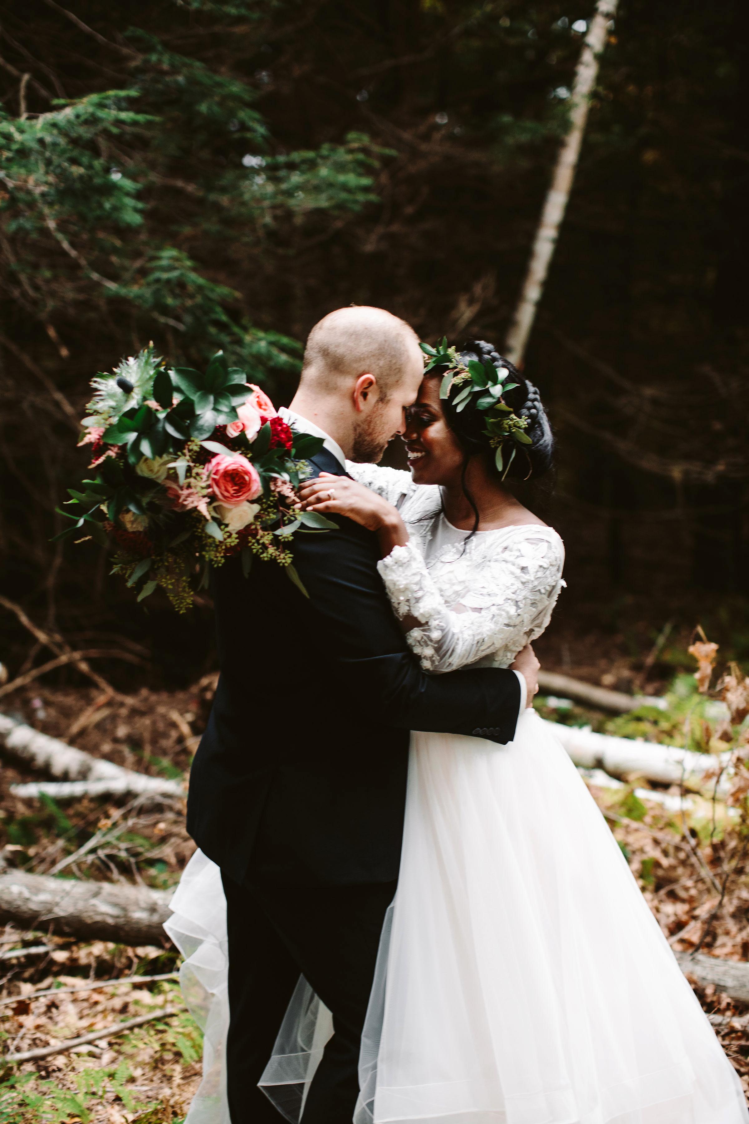 rivka aaron wedding couple bride groom hugging outdoors