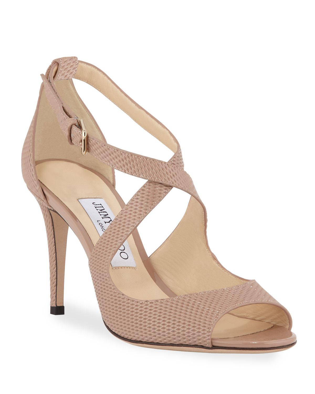 net-embossed patent sandals