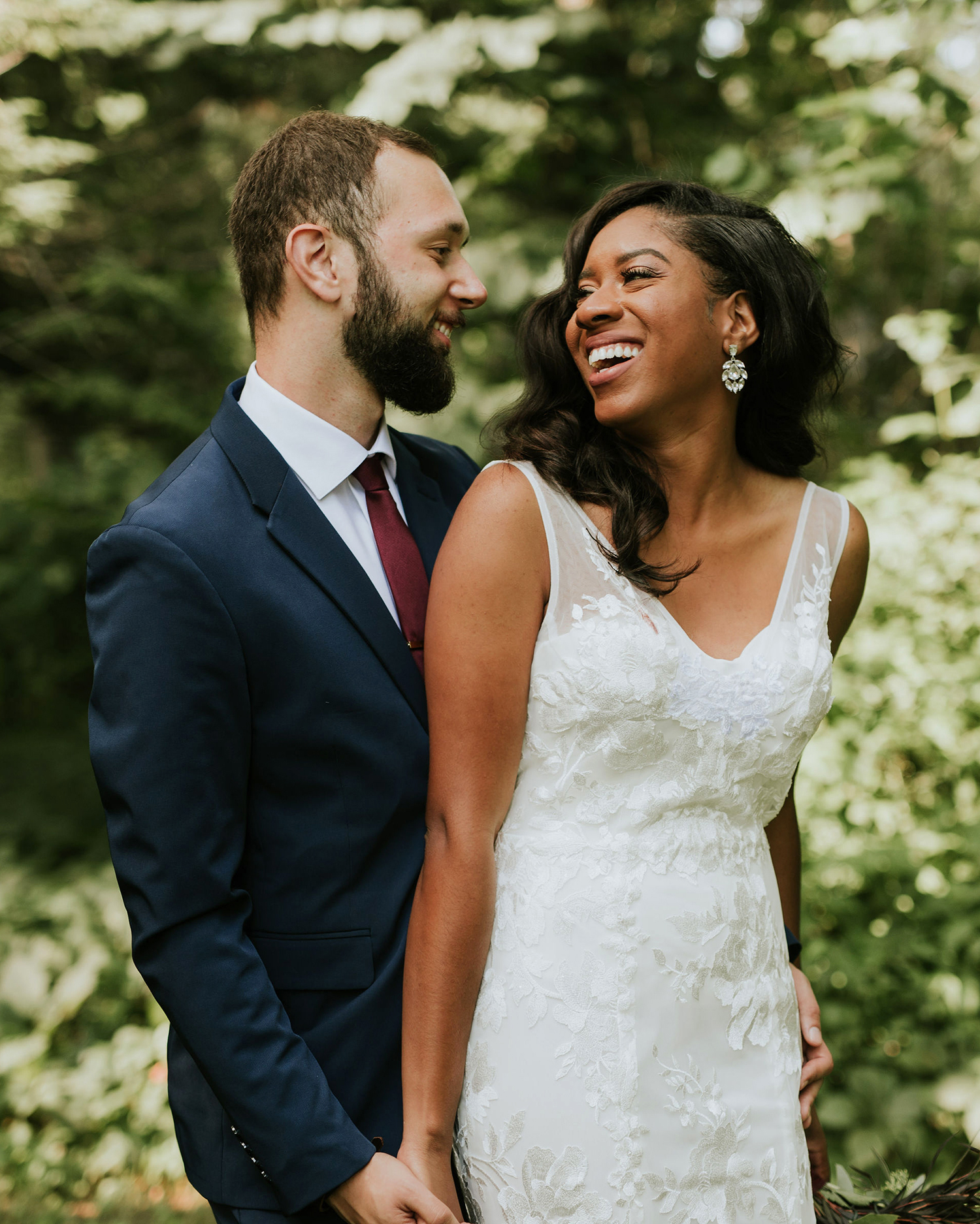 ferbie rob boho wedding couple in forest