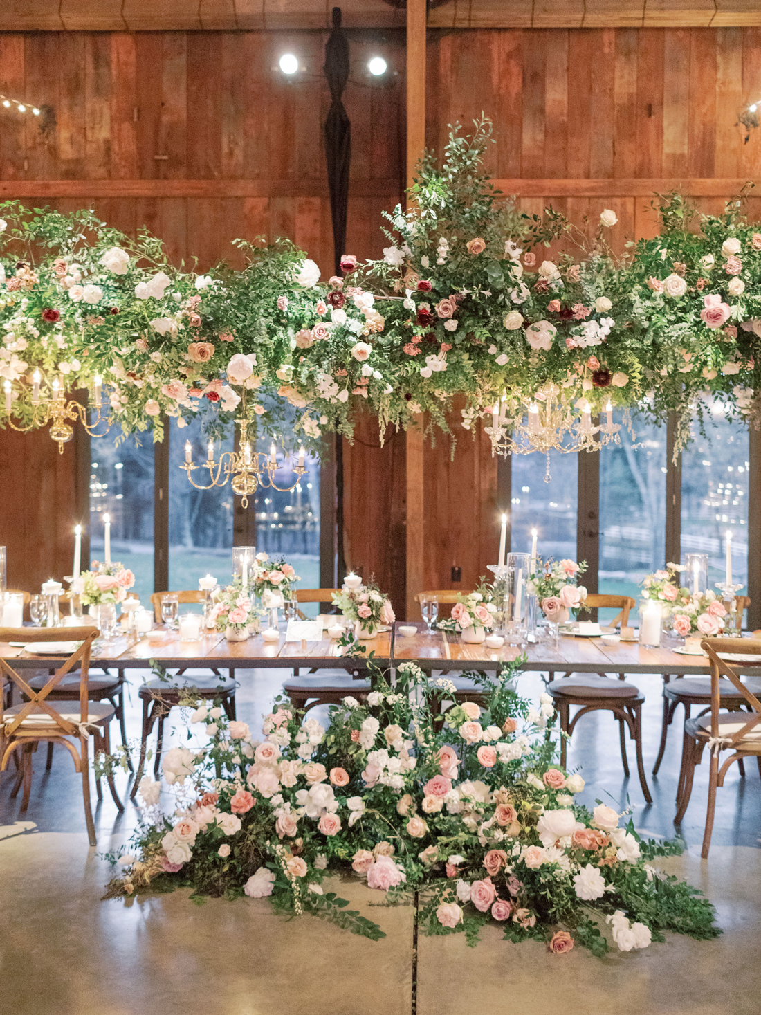 16-foot greenery, flowers, and chandelier canopy