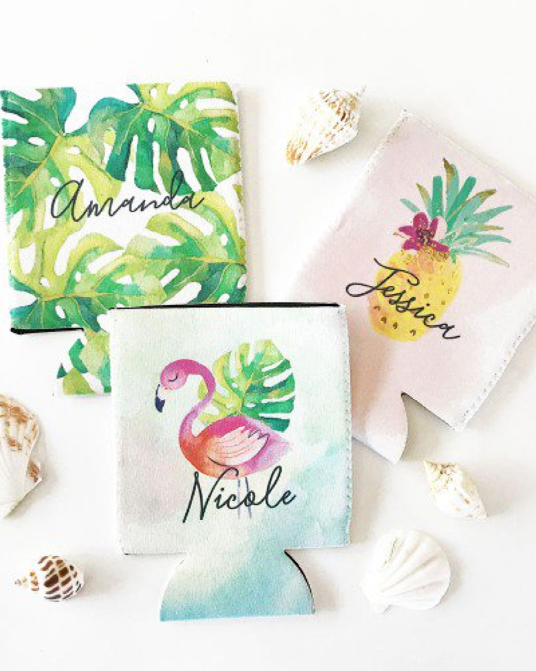 bachelorette party supplies tropical name koozies