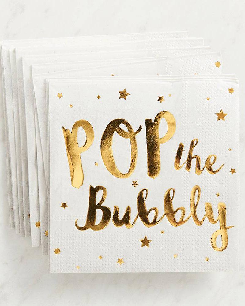 bachelorette party supplies pop the bubbly napkins