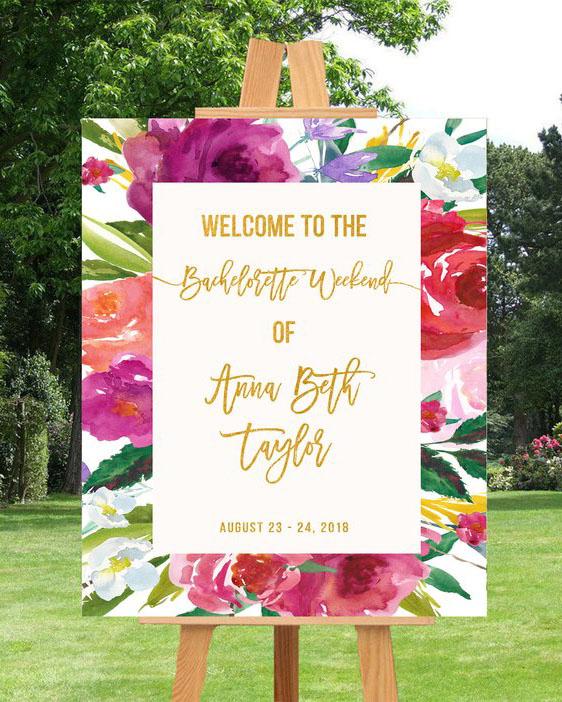 bachelorette party supplies floral sign