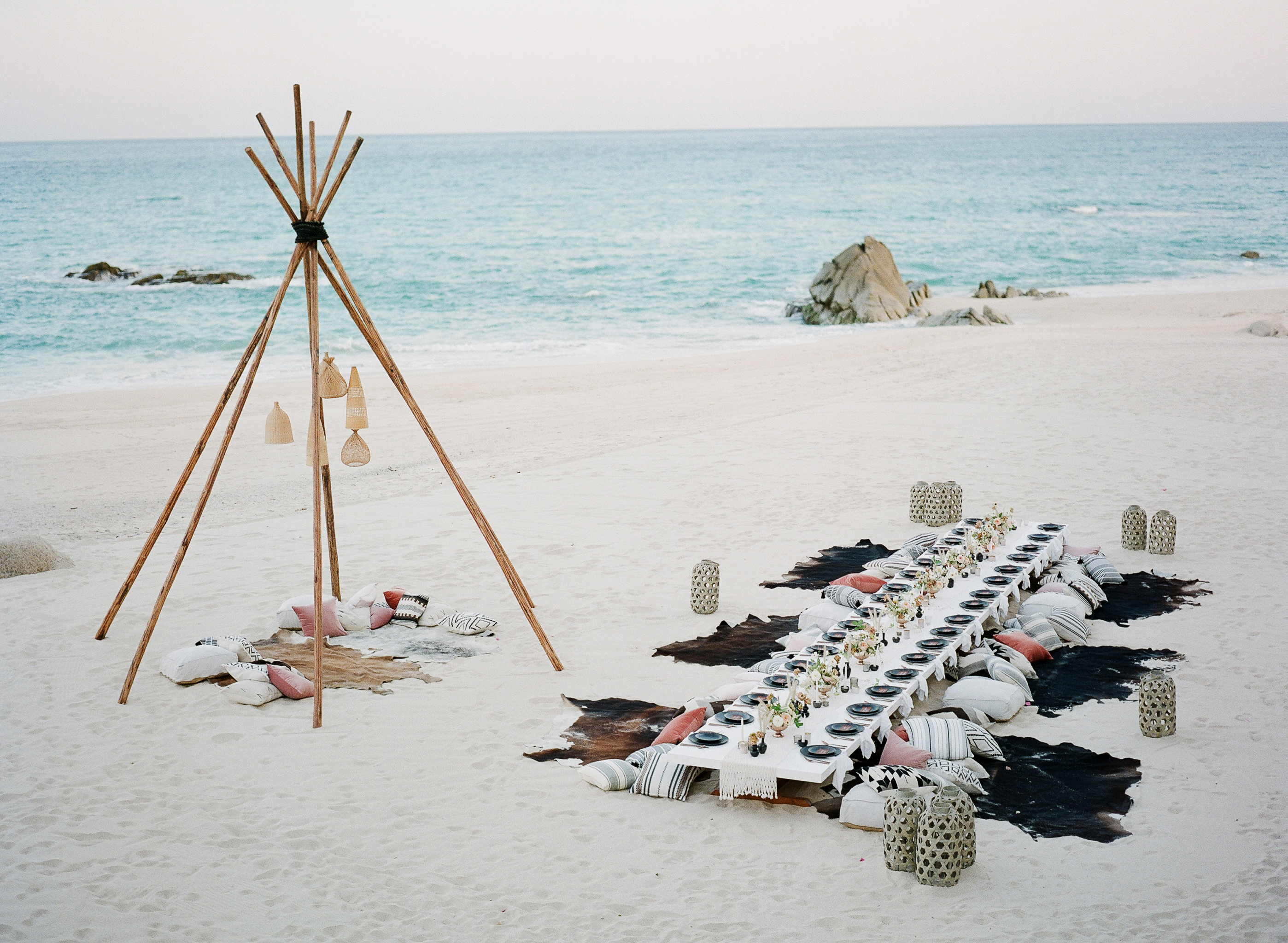 animal print wedding ideas hide seating on beach