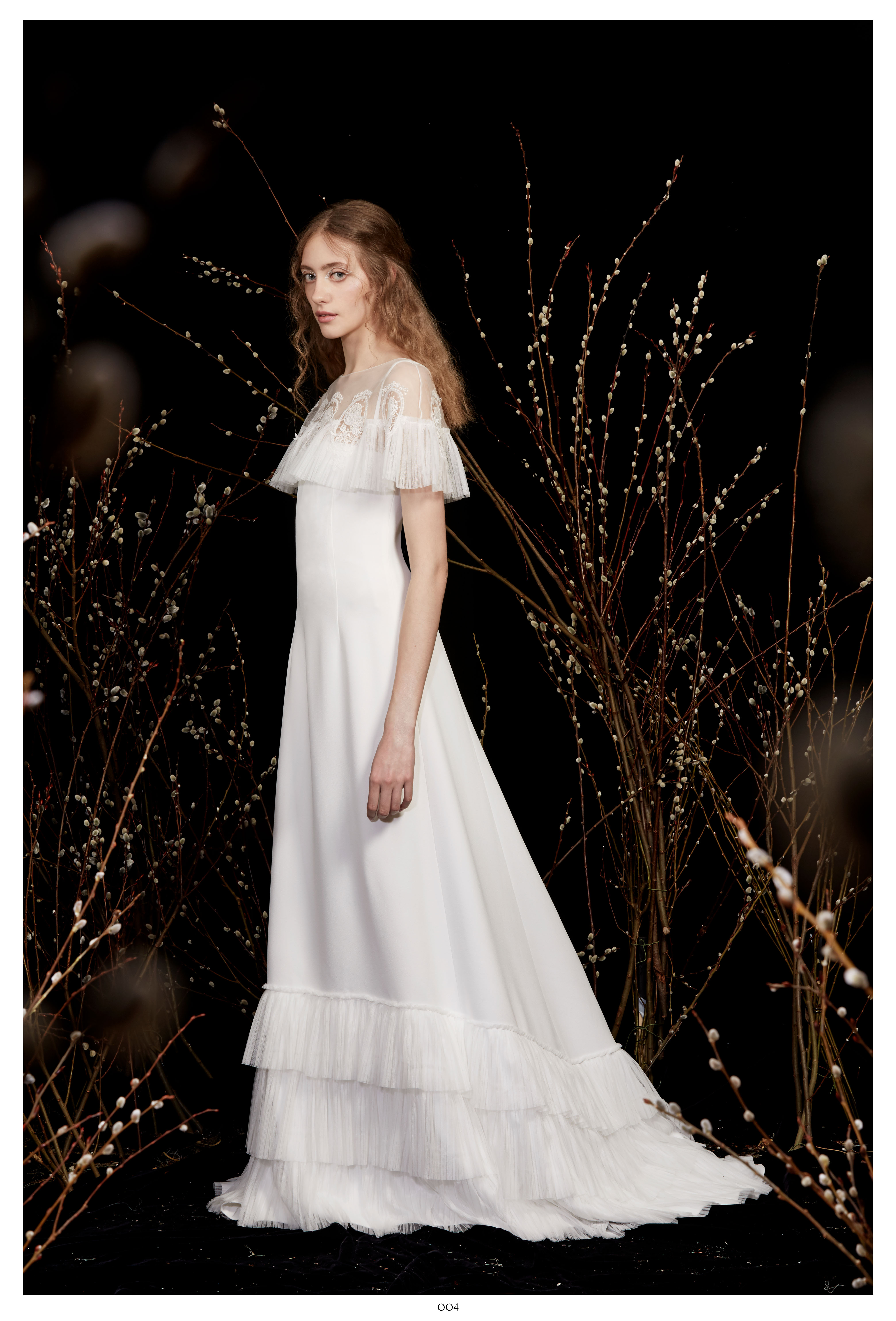 high-neck caplet ruffled a-line wedding dress Honor Spring 2020
