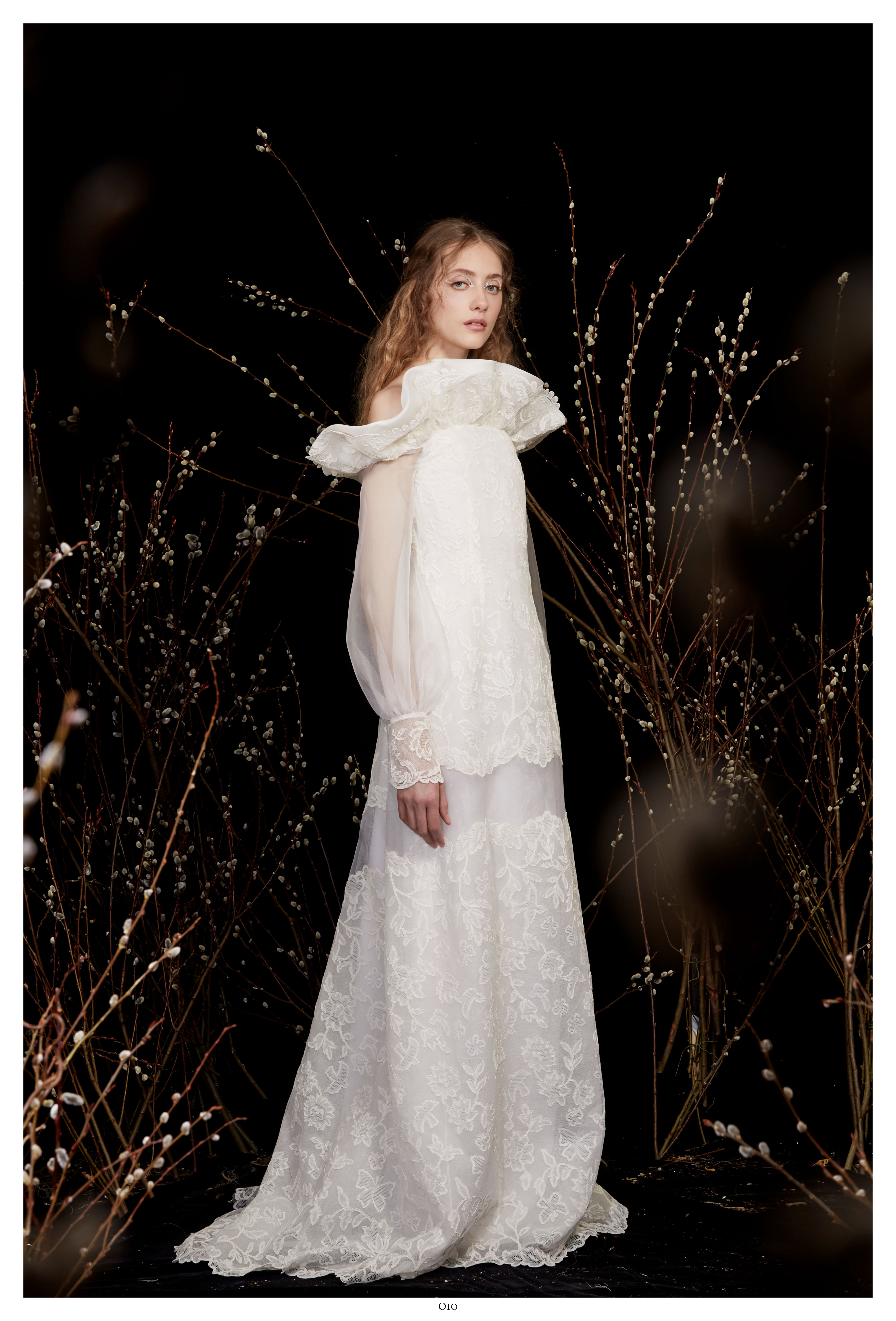 off-the-shoulder long sleeve lace a-line wedding dress Honor Spring 2020