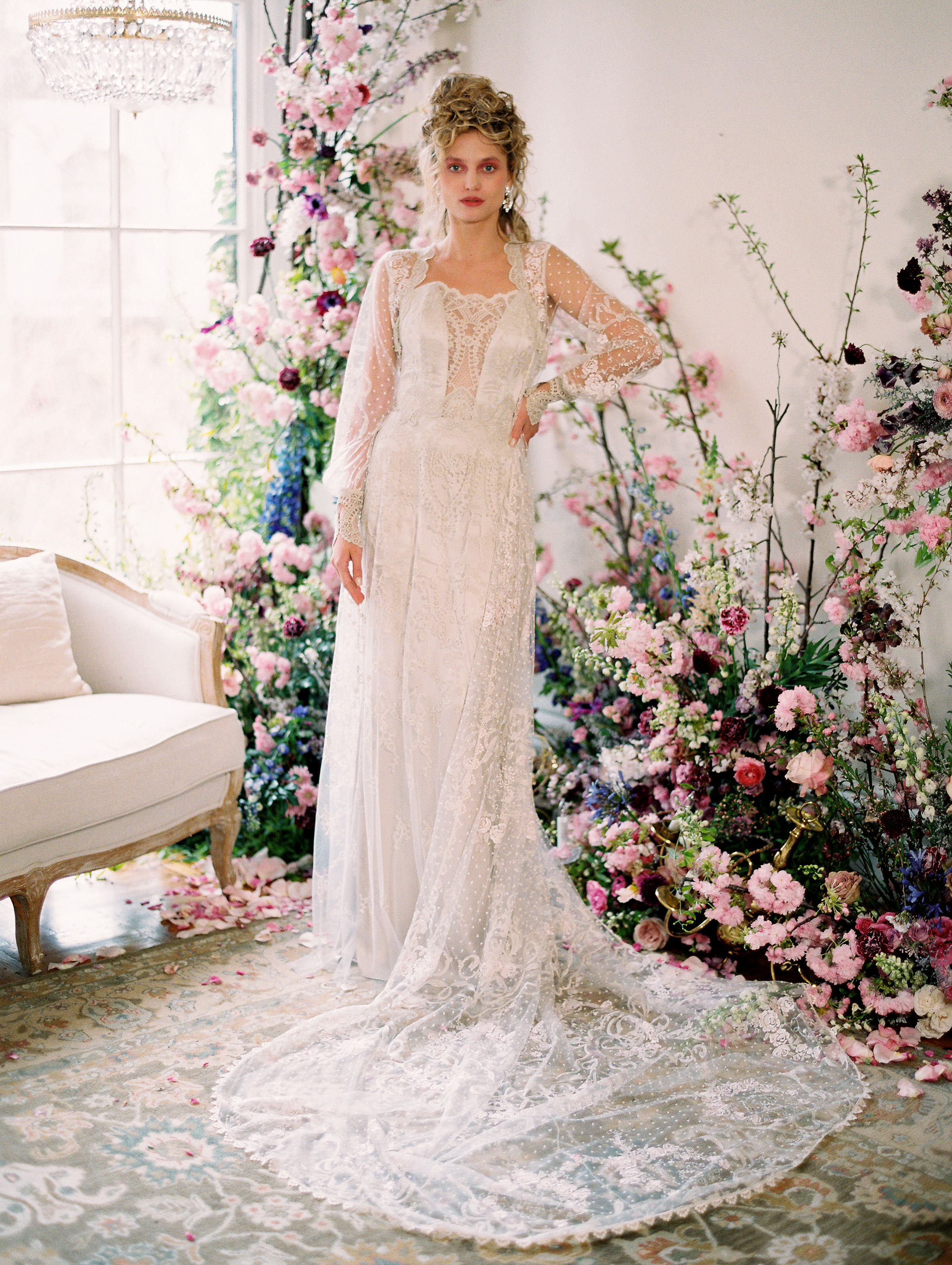 long sleeve lace long train scalloped neckline a-line wedding dress Claire Pettibone Spring 2020