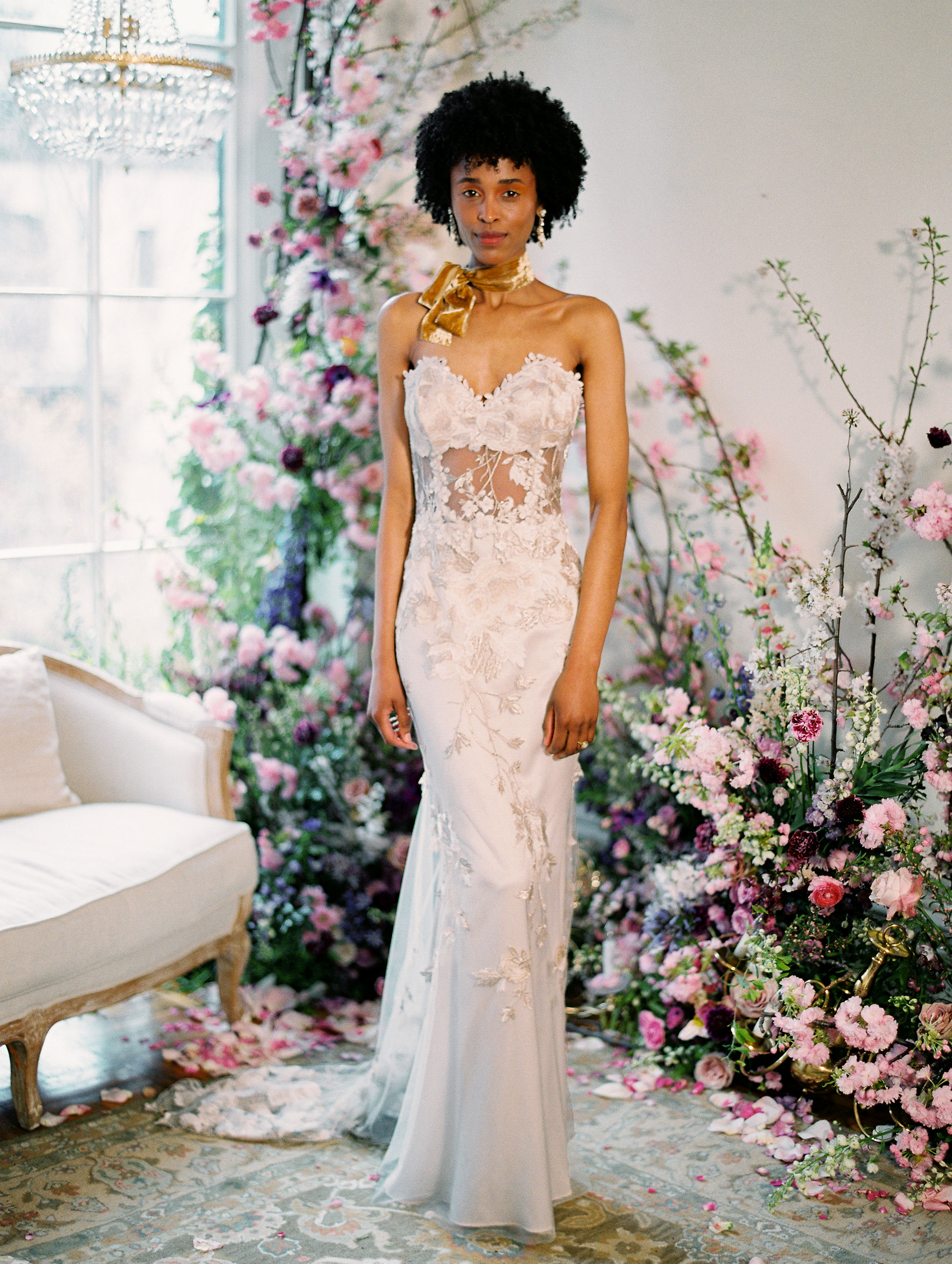 strapless sweetheart neckline floral applique sheer bodice semi trumpet wedding dress Claire Pettibone Spring 2020