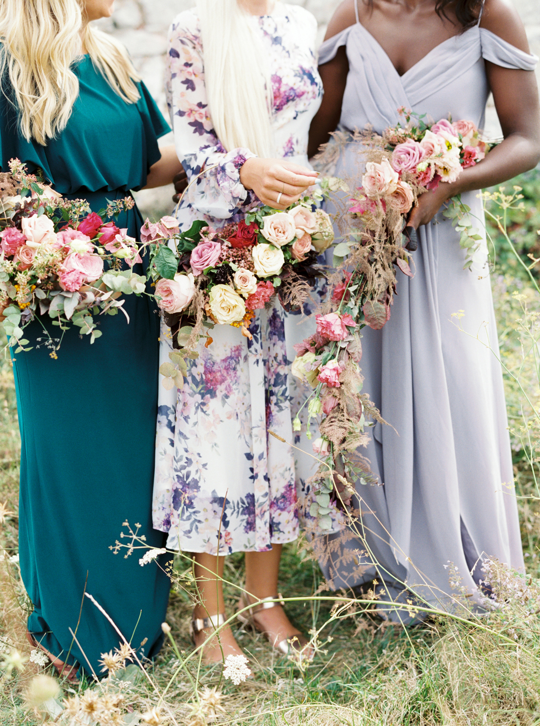 individual bridesmaids dresses in pastel, a jewel tone, and a pattern