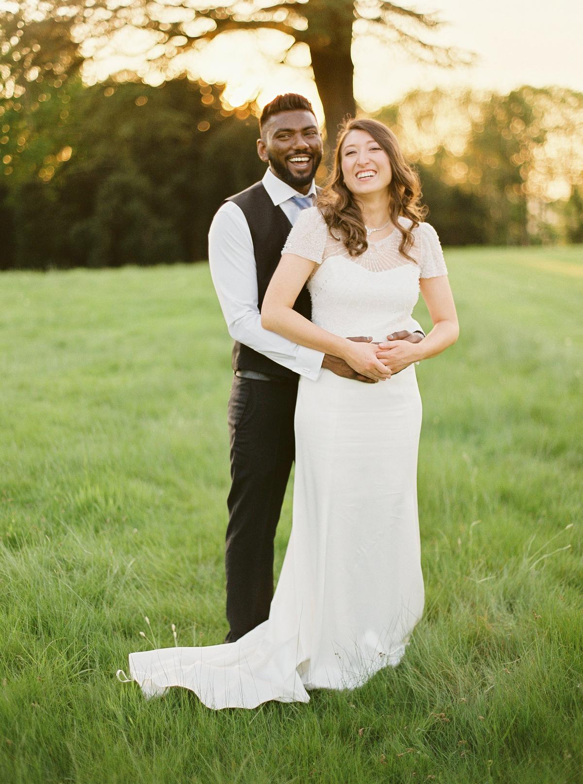 bride wearing cap sleeve wedding dress