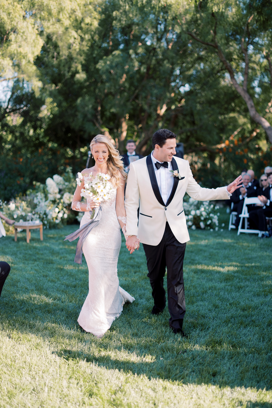 bride and groom recessional walk after ceremony