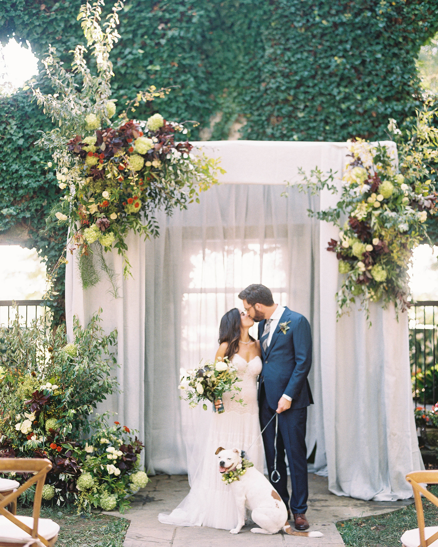 bride groom wedding kiss happy dog