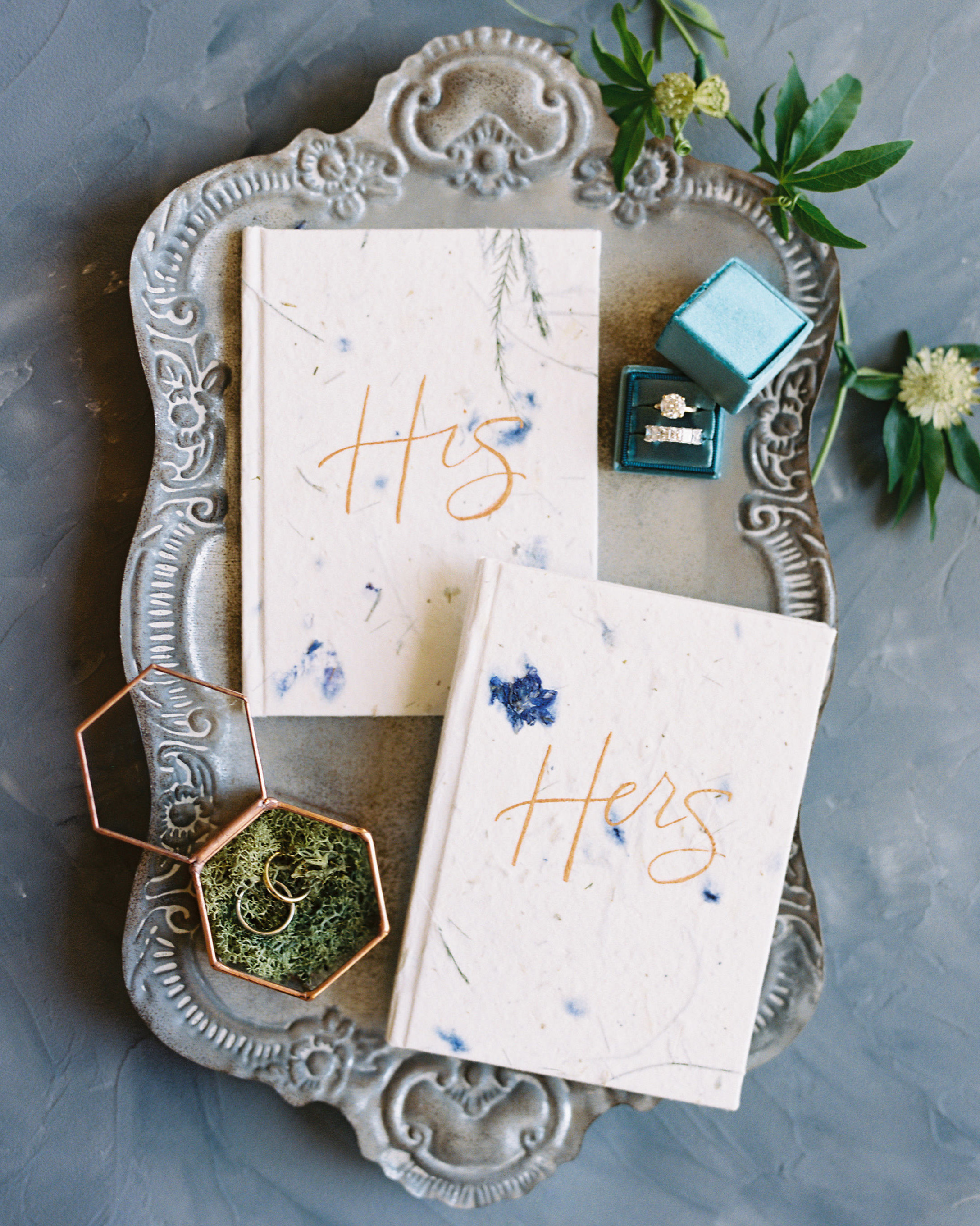 wedding vow his hers books on rustic platter