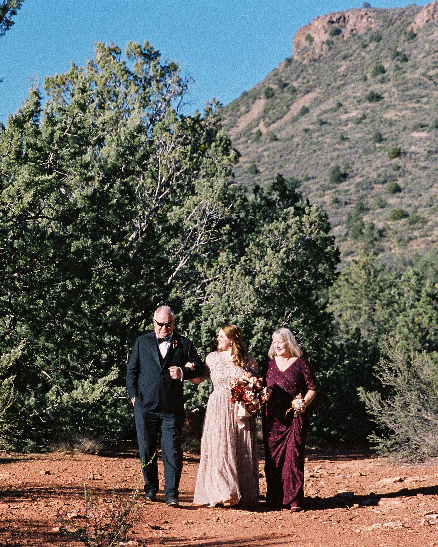 stefanie terrel wedding processional bride and parents