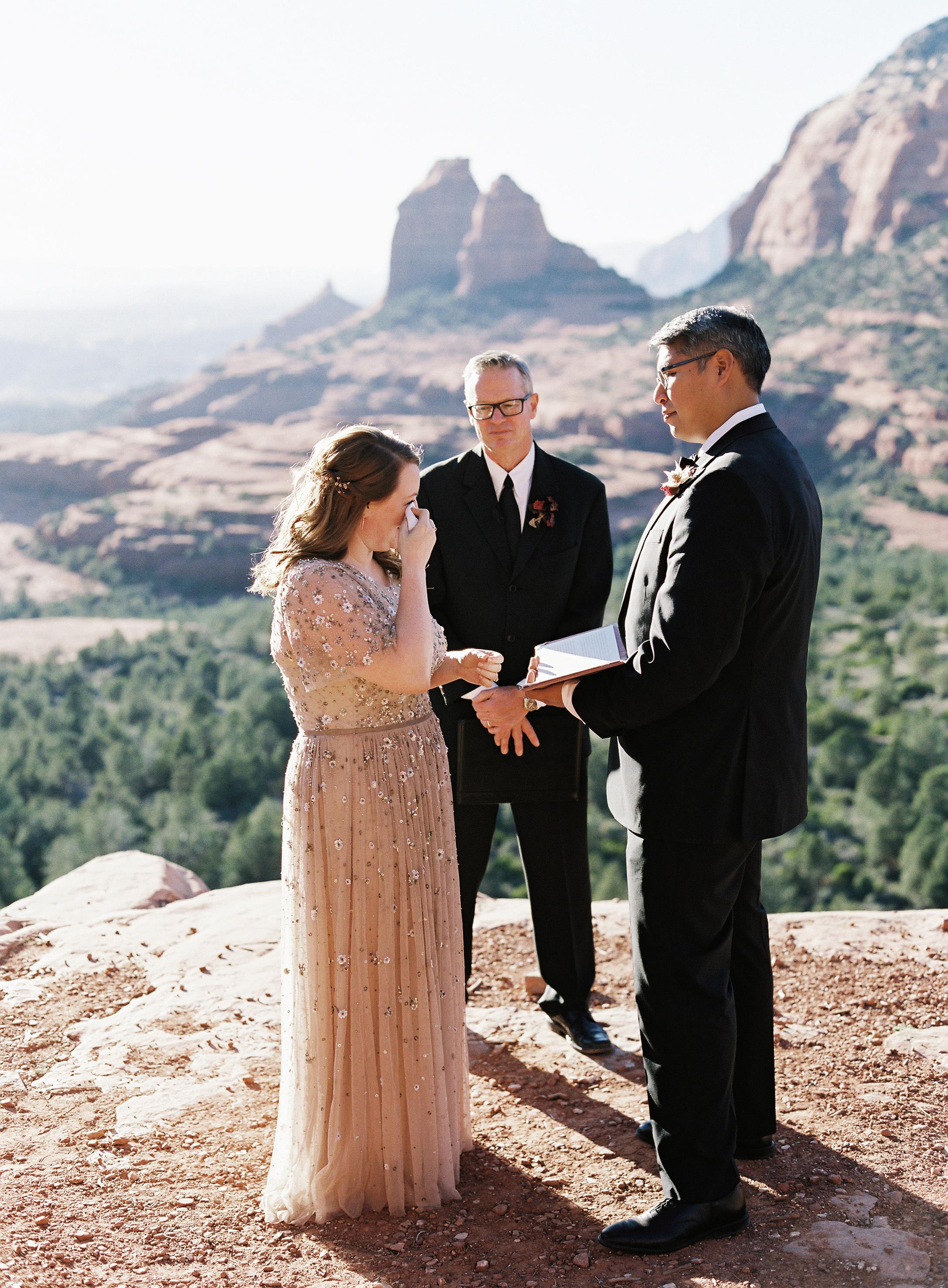 stefanie terrel wedding ceremony couple tears