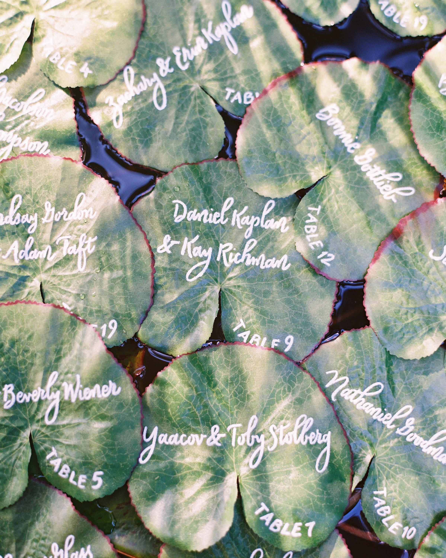 wedding escort card lily pads