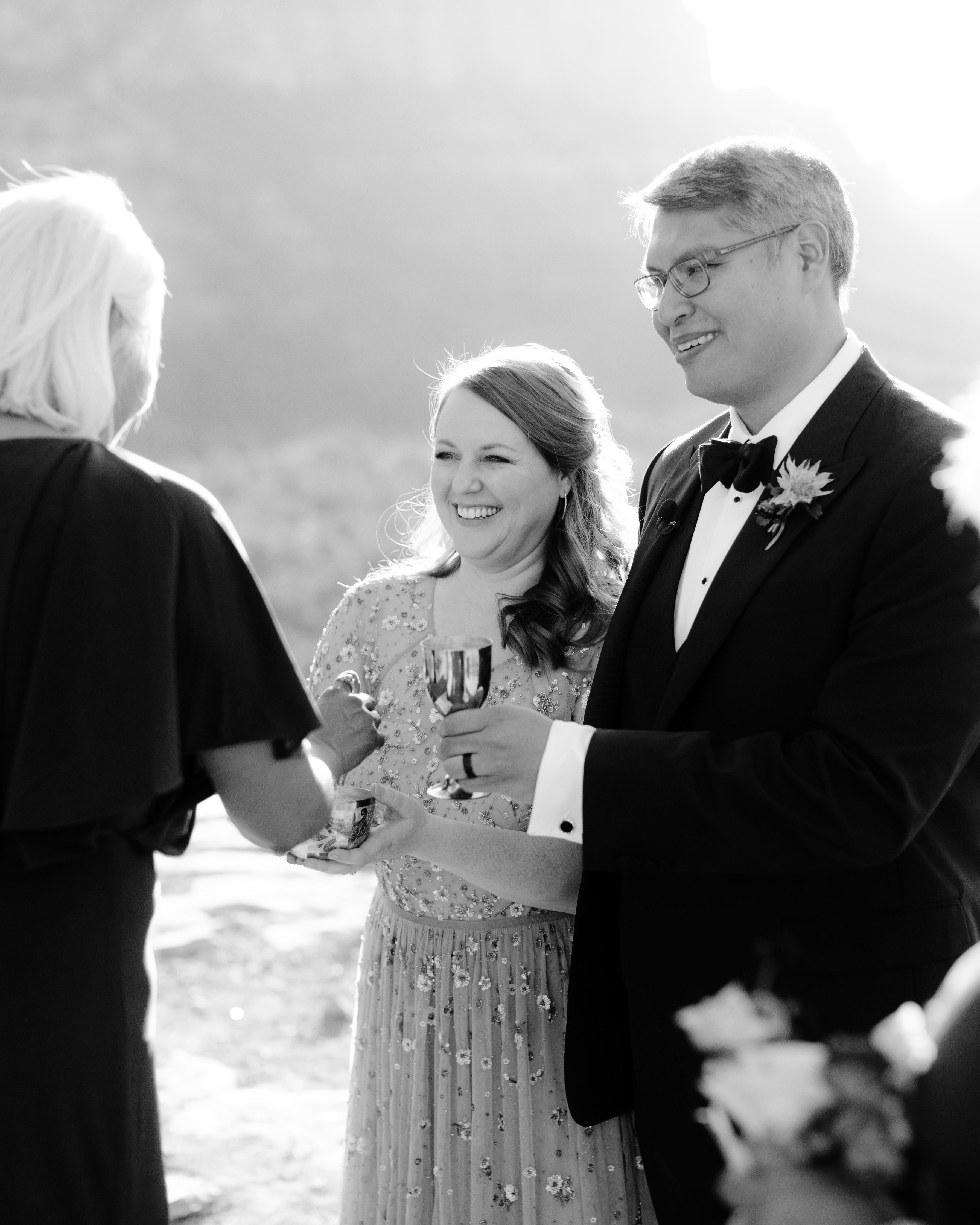 stefanie terrel wedding bread wine couple officiant