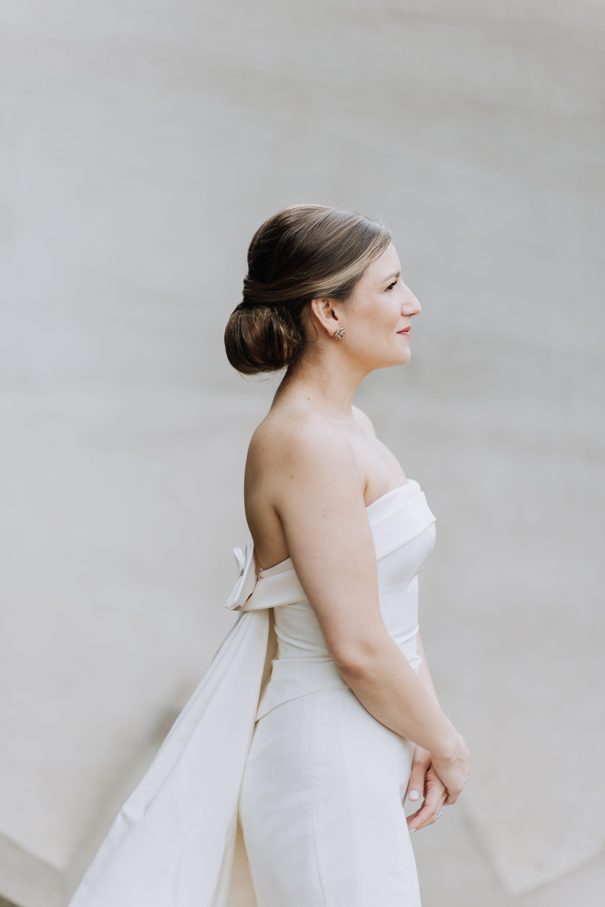 cathleen and winston wedding profile of bride
