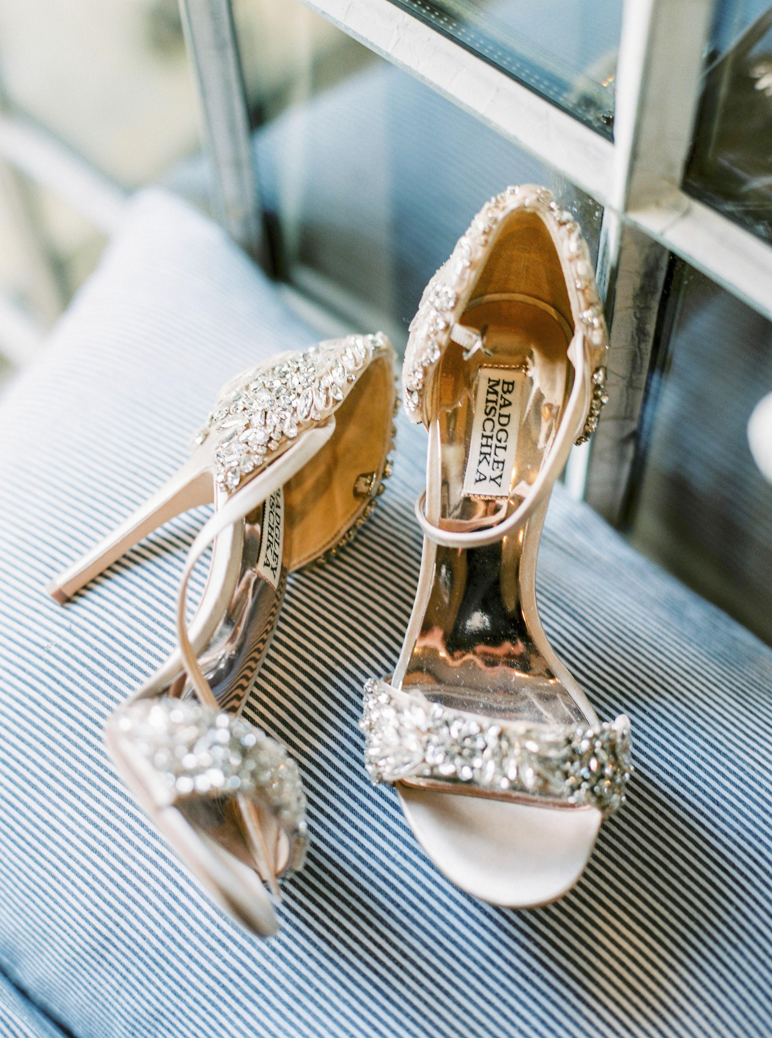 champagne colored Badgley Mischka 'Tampa' satin shoes
