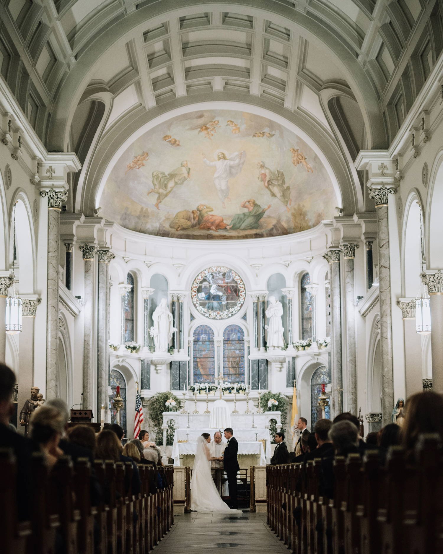 cathleen and winston wedding ceremony in chapel
