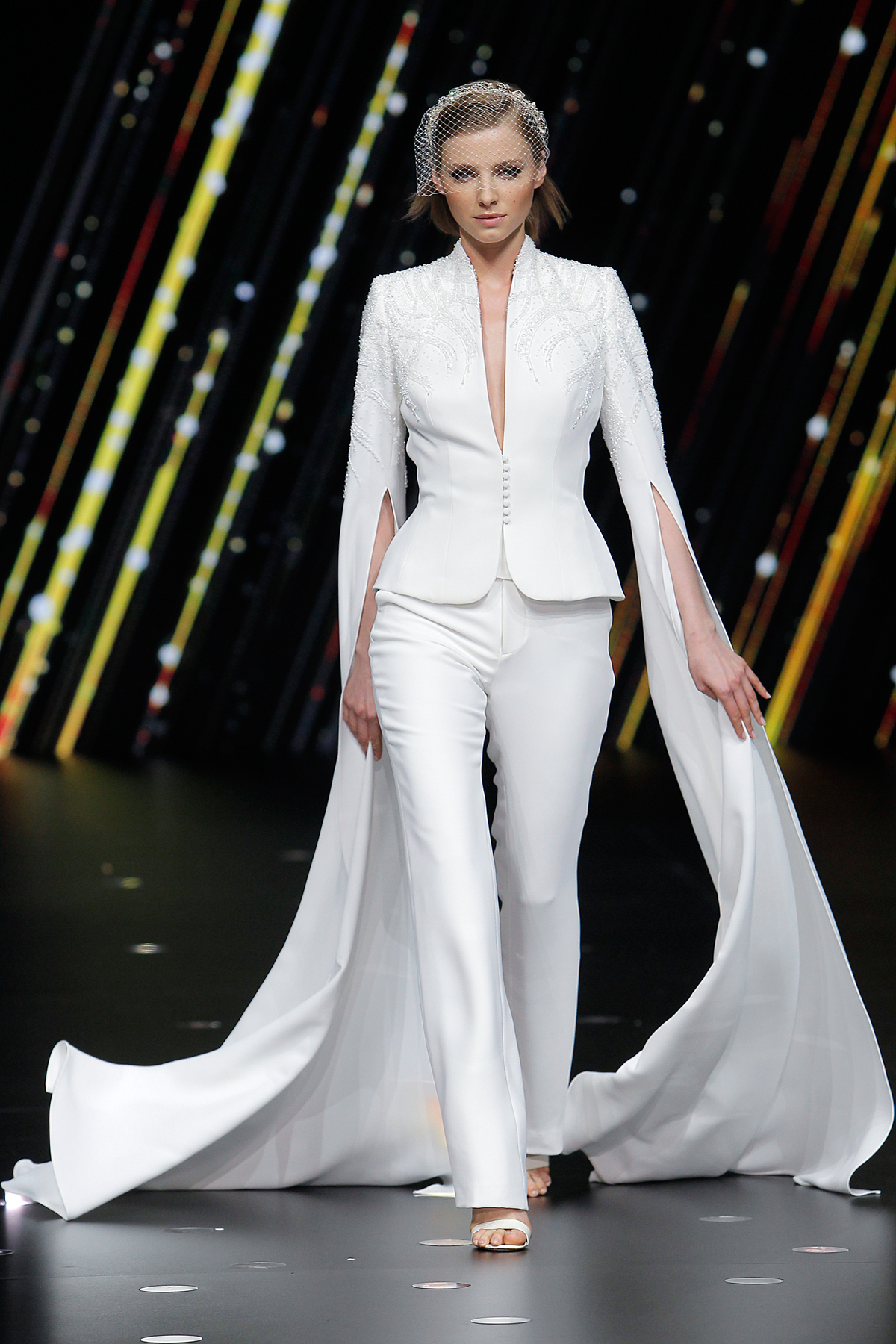 pronovias pantsuit with beaded jacket and statement bell sleeves wedding dress spring 2020