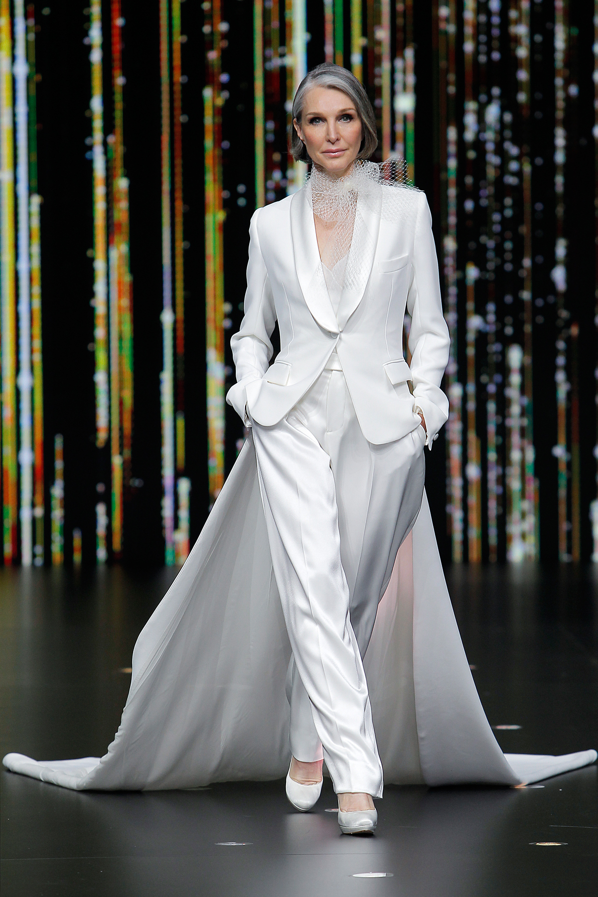 pronovias pantsuit with train wedding dress spring 2020