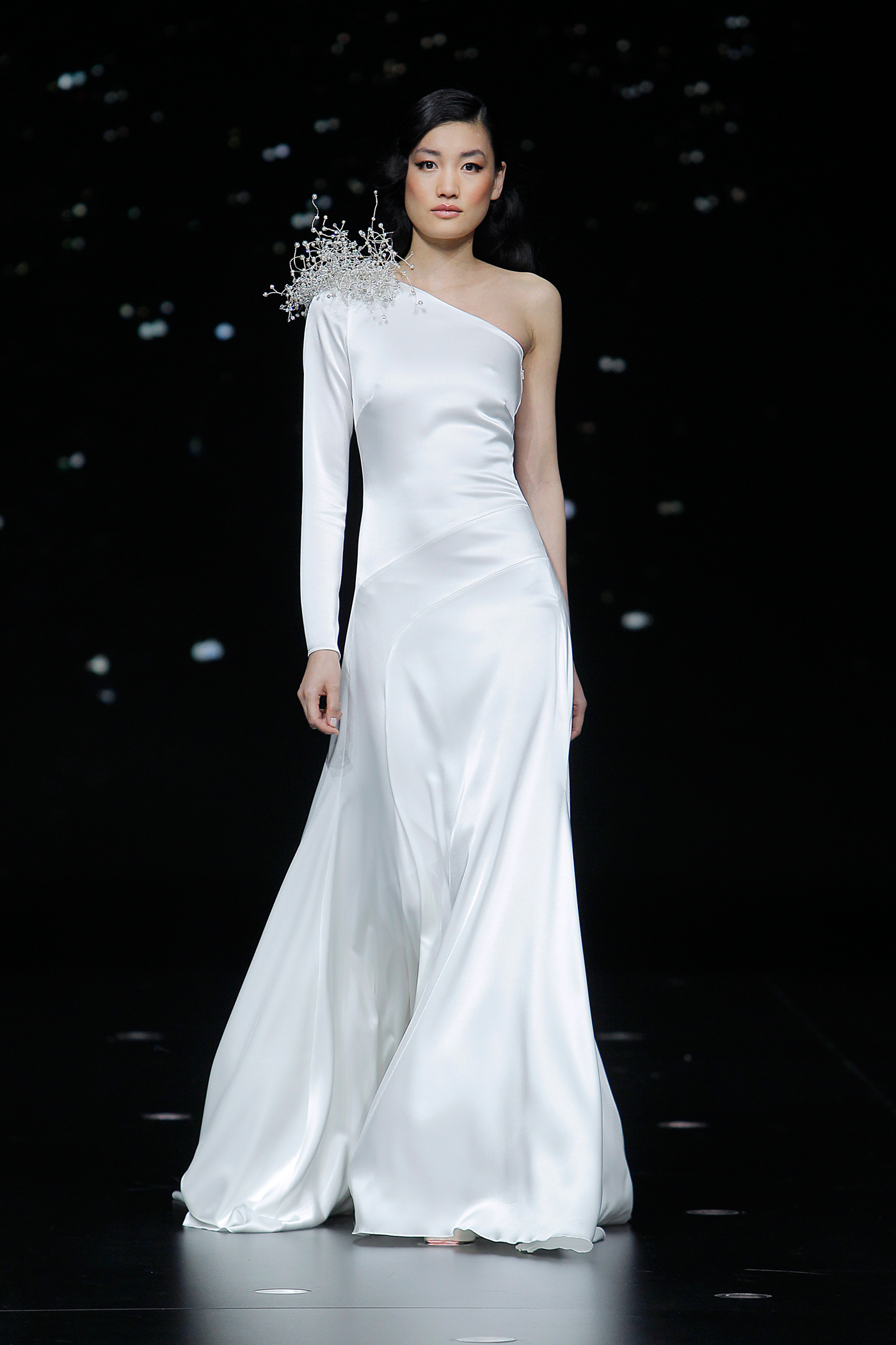 pronovias asymmetric wedding dress with sculptural beading on one shoulder spring 2020