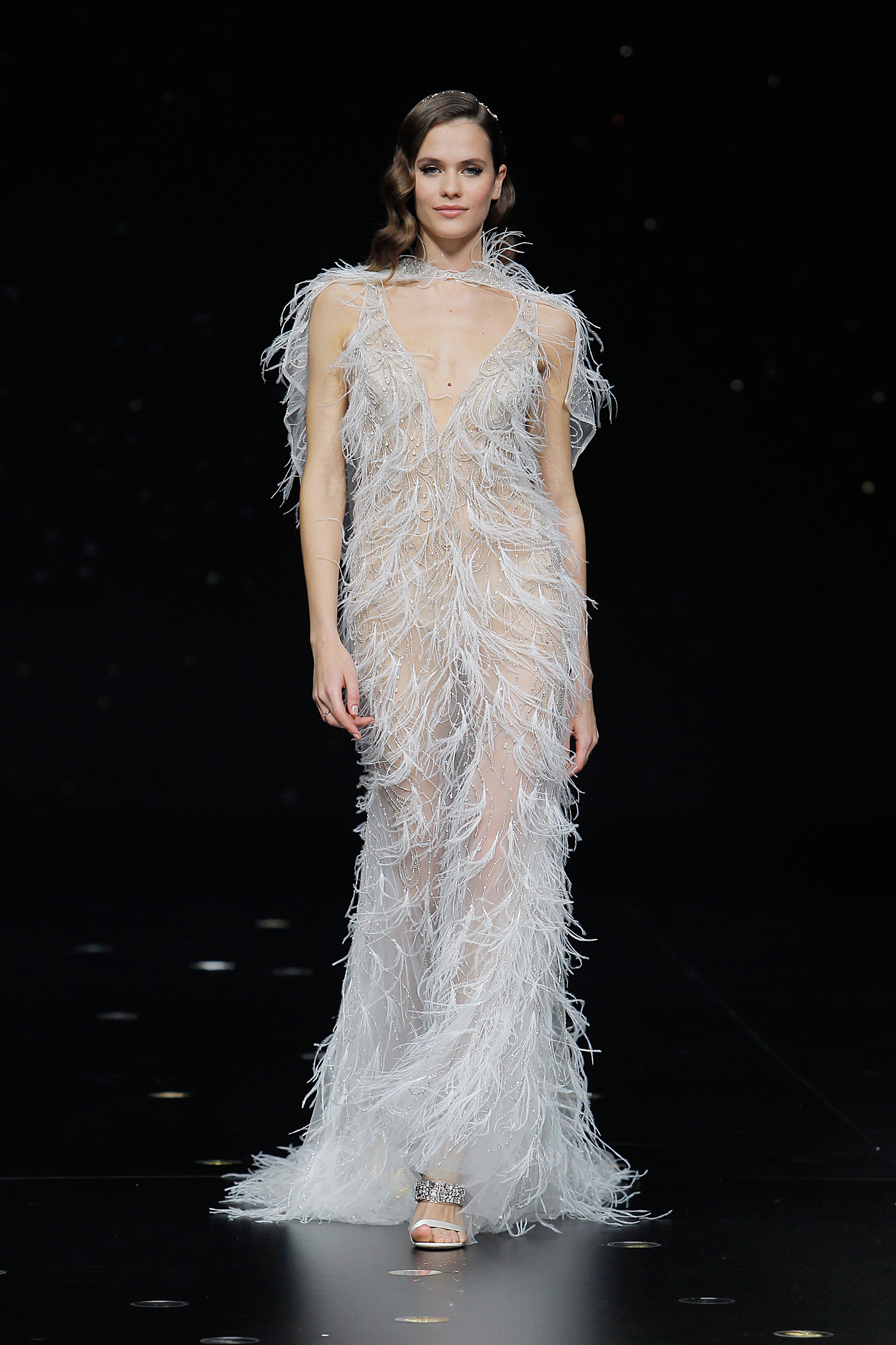 pronovias sheer feathered wedding dress with capelet spring 2020