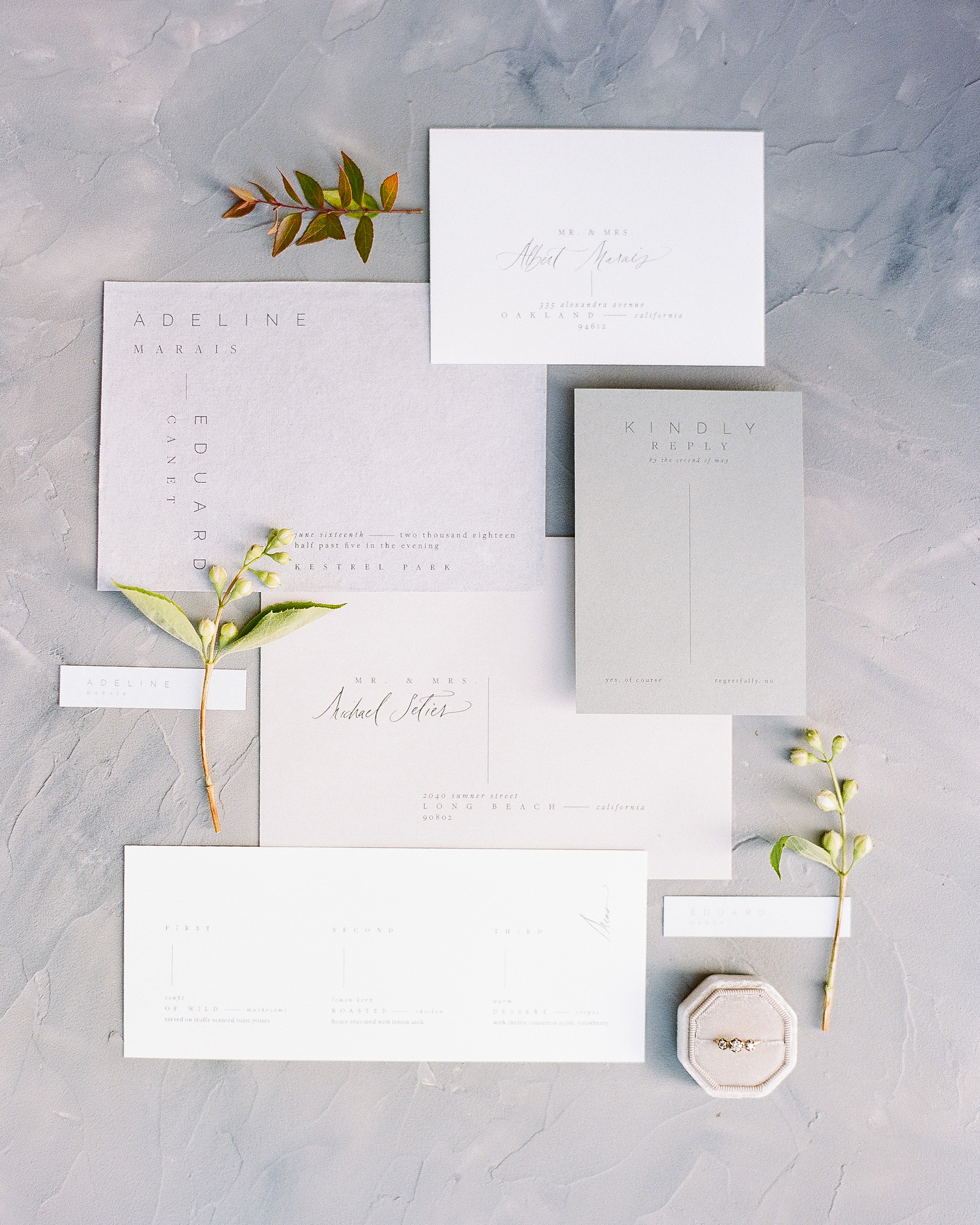 wedding stationery suite minimal horizontal design